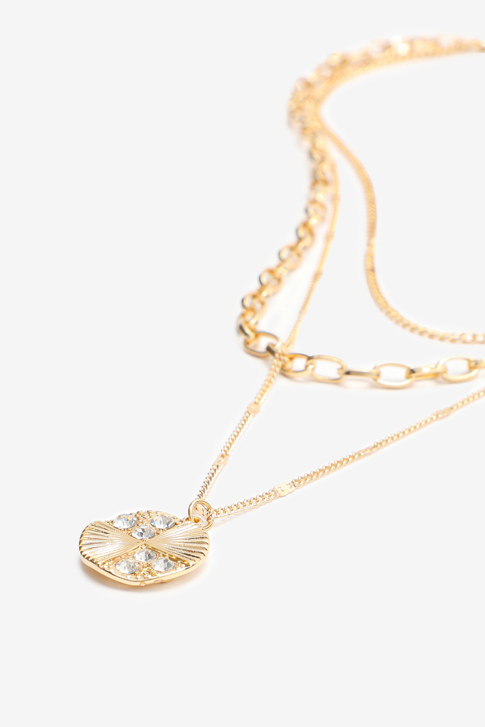Layered Chain Necklace with Medallion