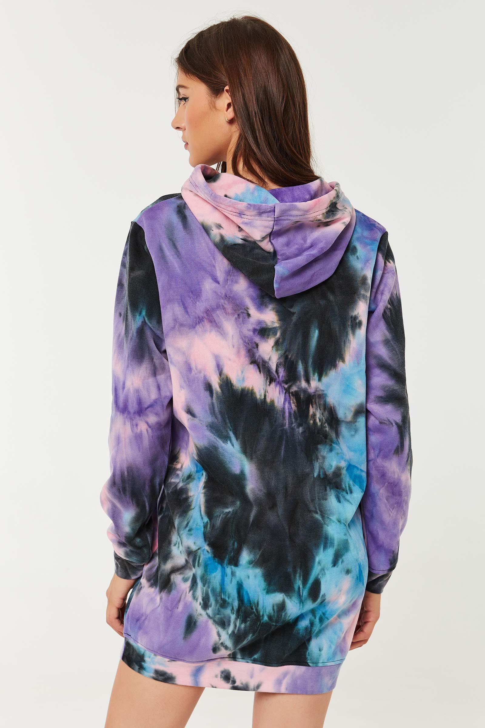 Tie-dye Fleece-Lined Hoodie Dress