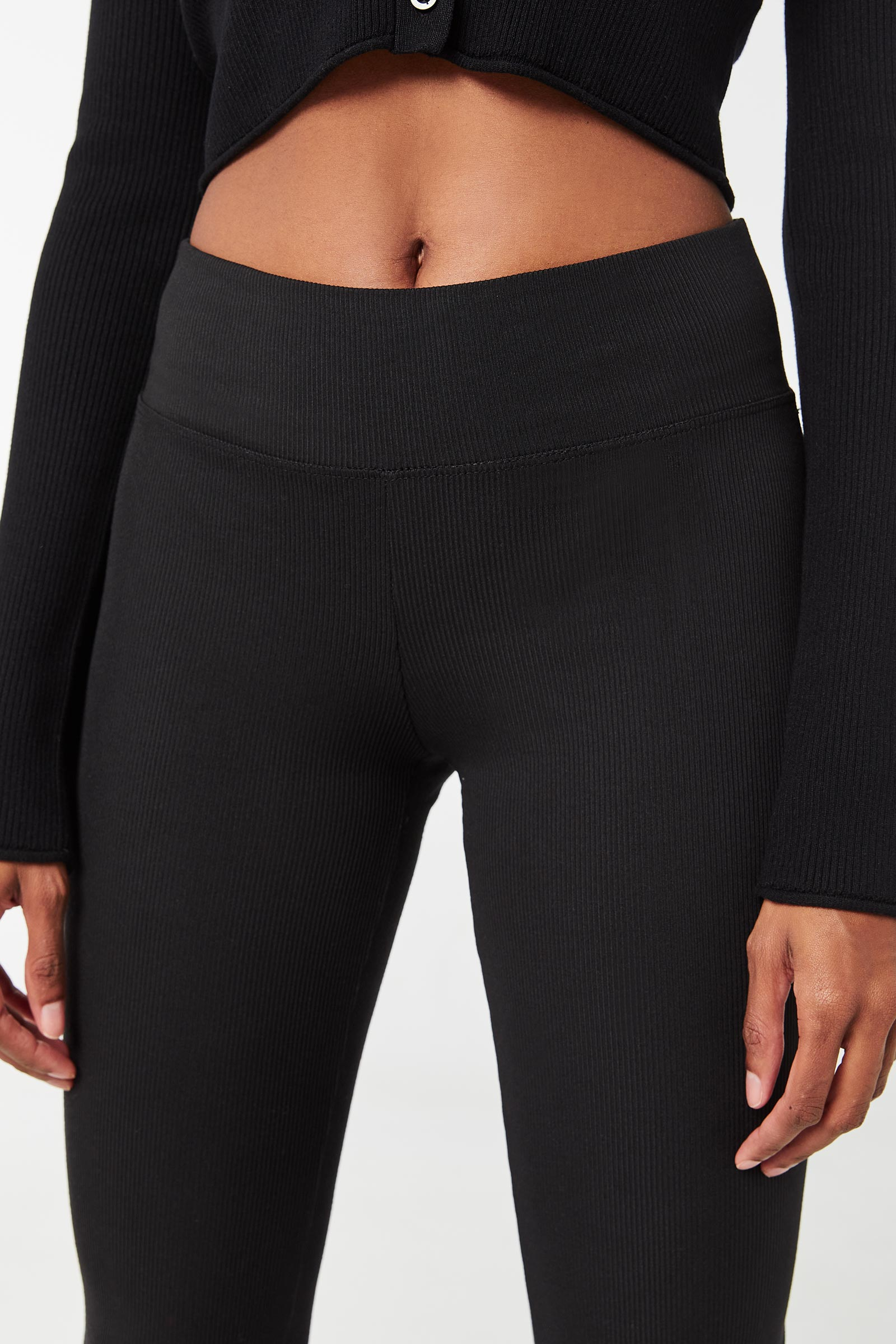 Ribbed Leggings with Ruched Hems