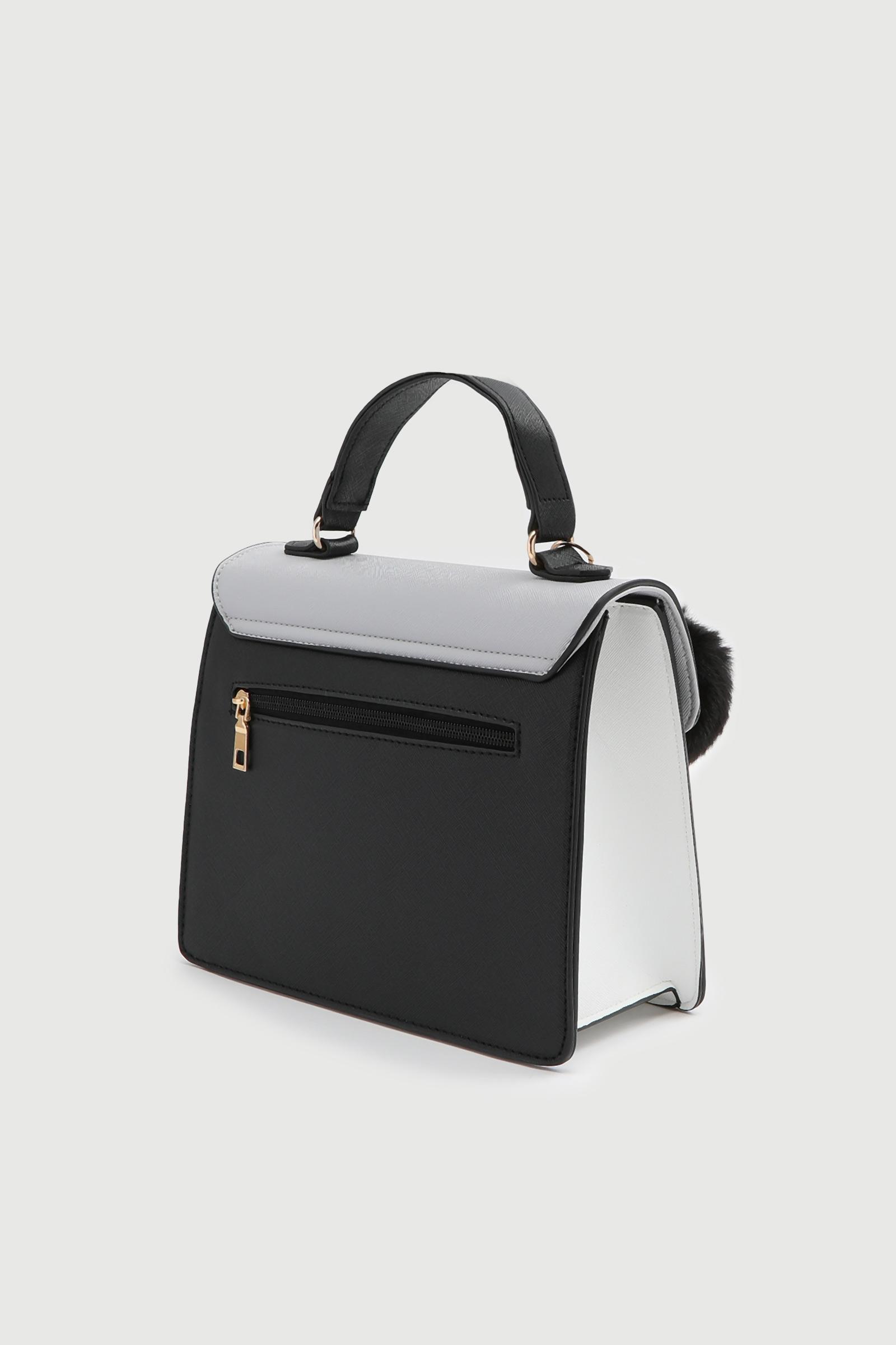 Color Block Snap Button Crossbody Bag