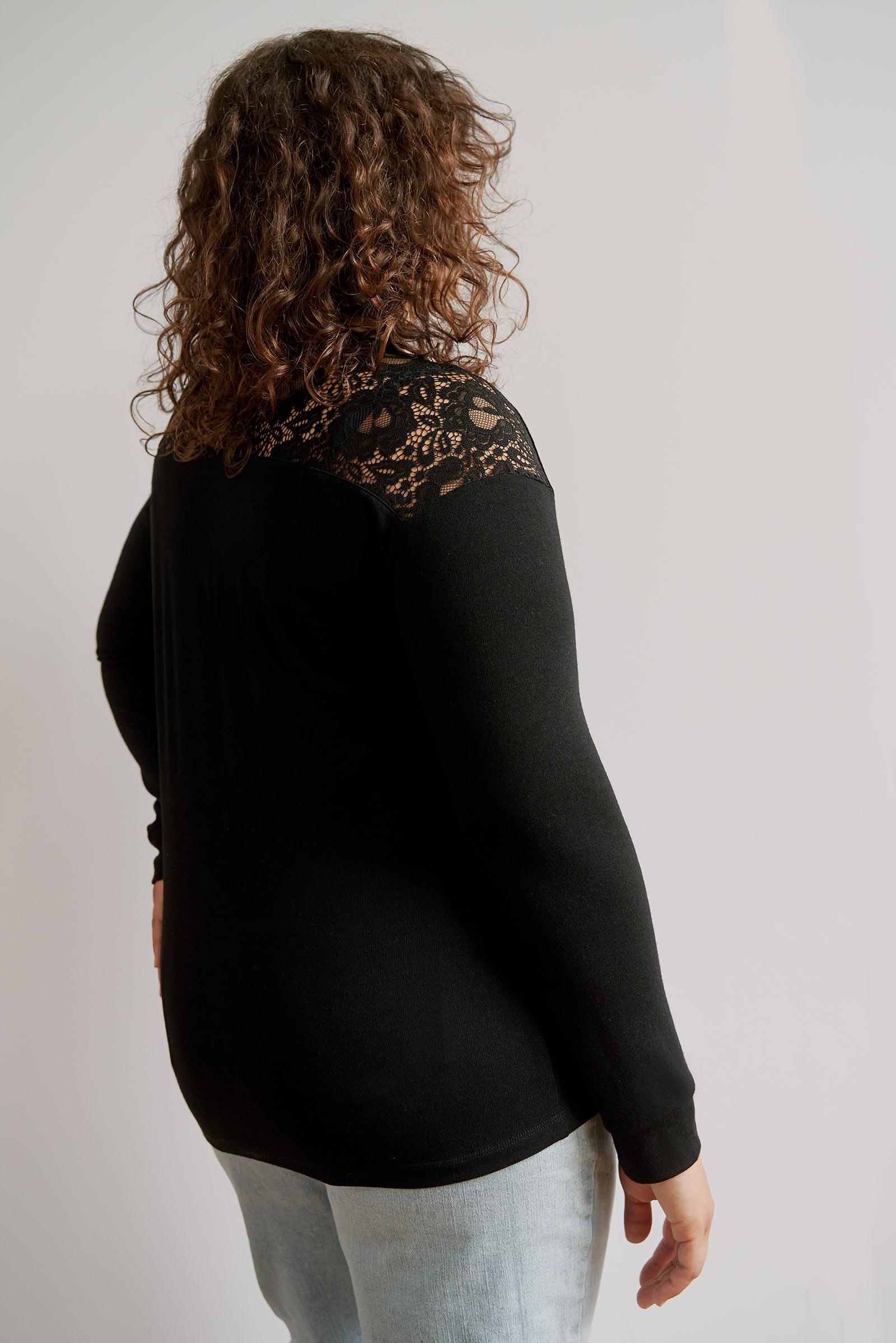 Tunic Sweater with Lace Yoke