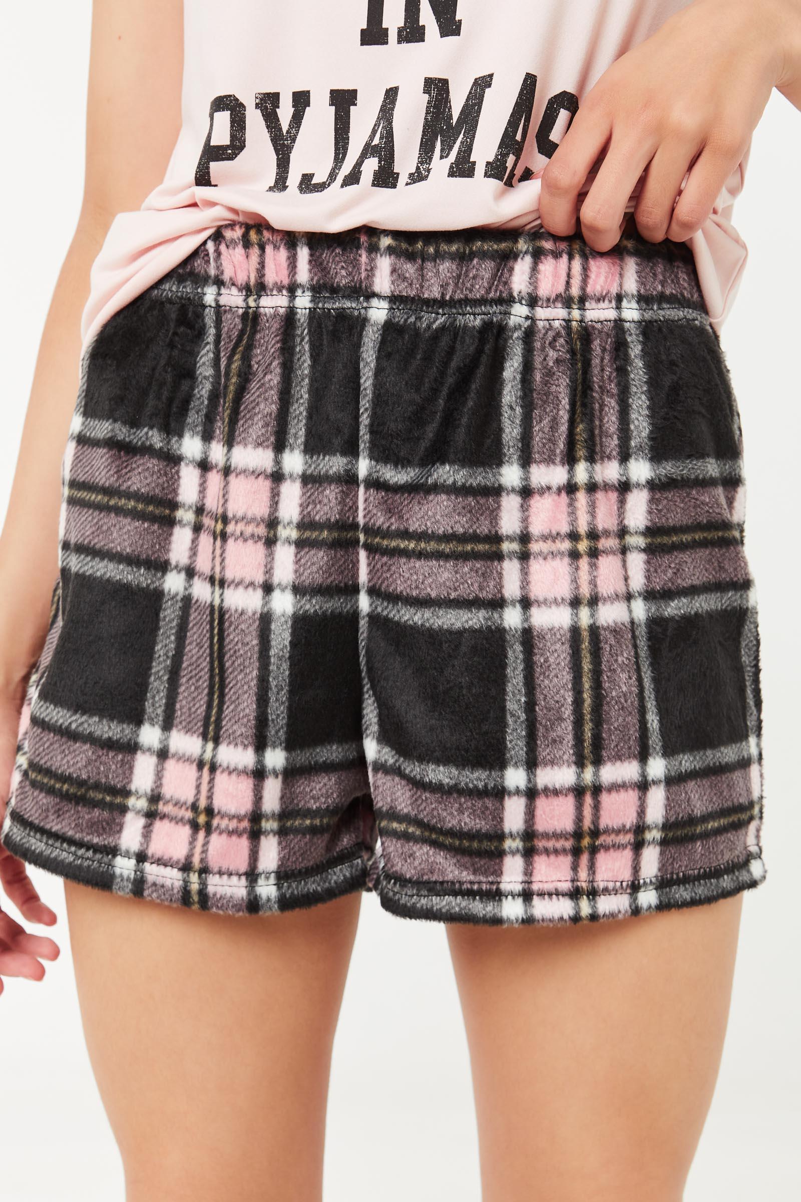 Plaid Minky PJ Shorts