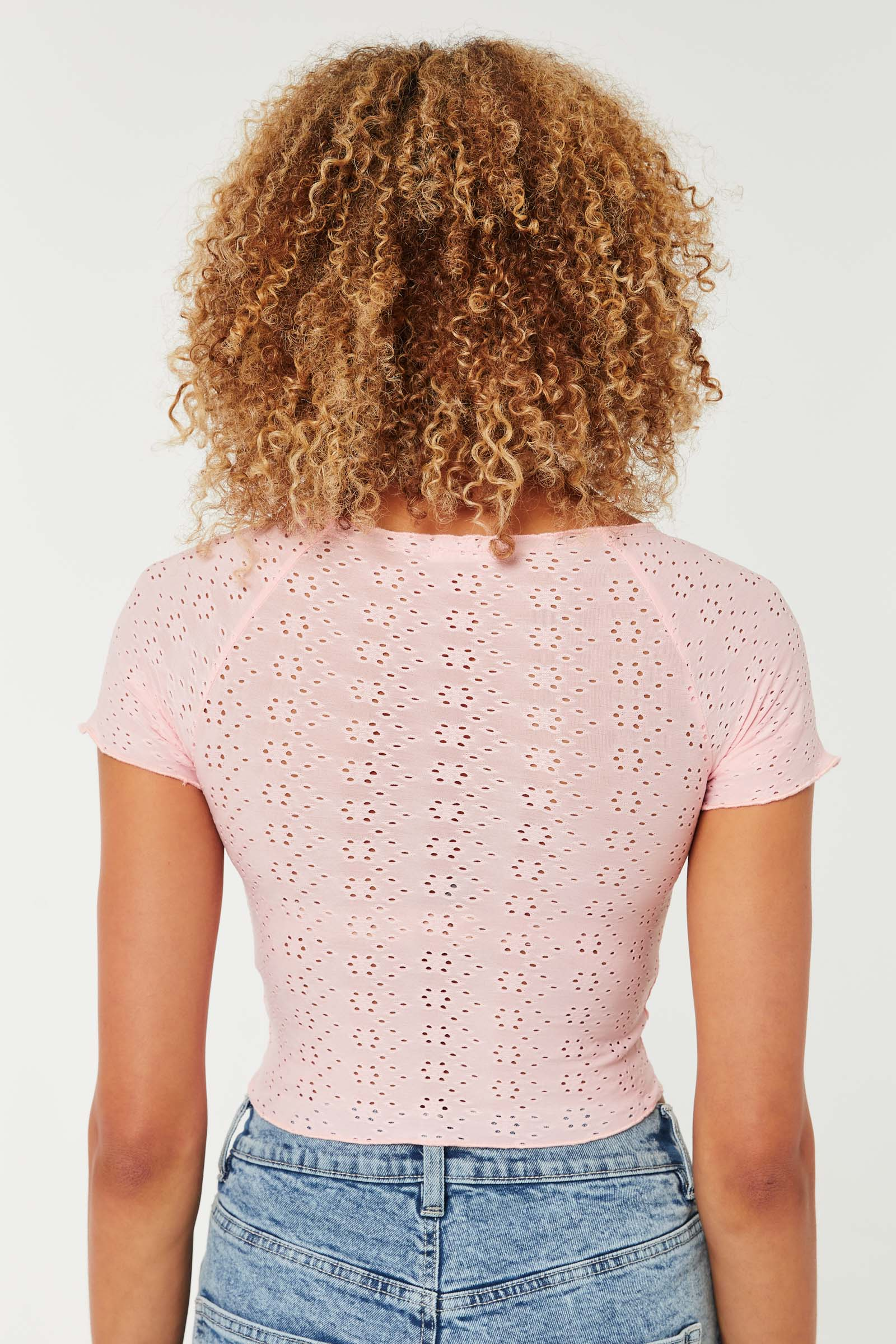 Eyelet Ruched Top