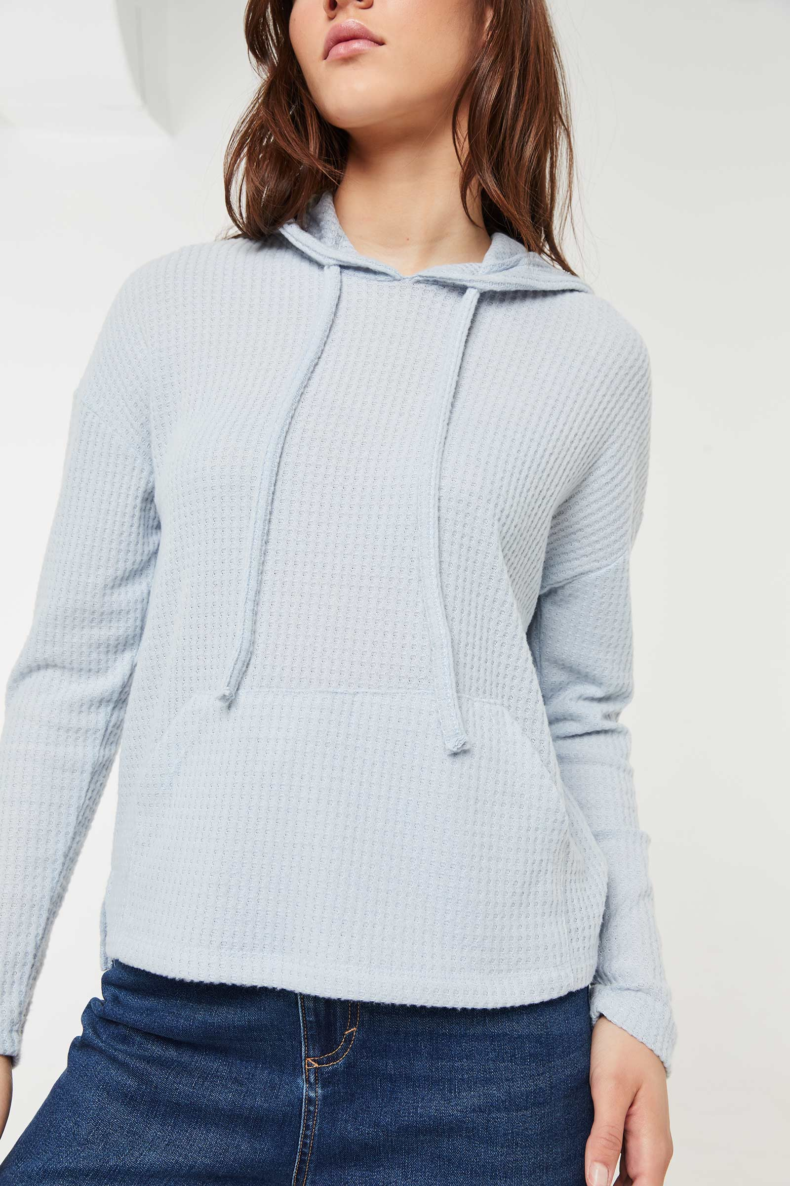 Waffle Knit Hooded Top