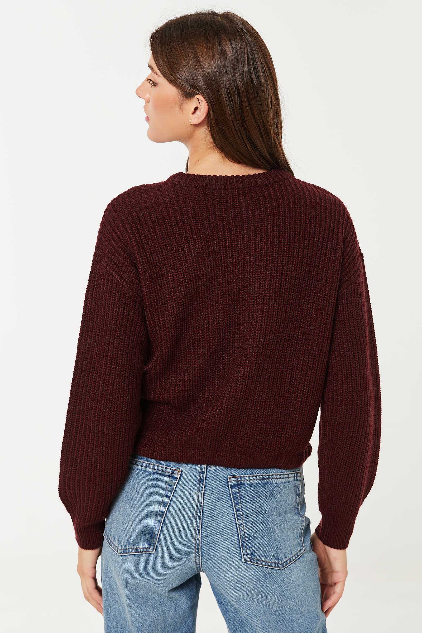 Crew Neck Sweater with drawstring Hem