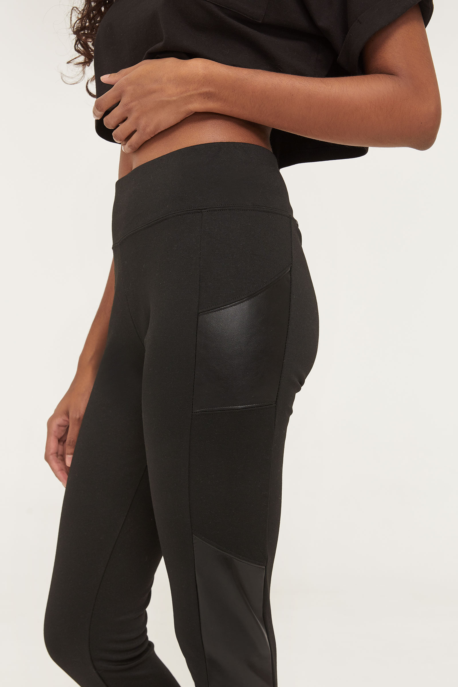 Leggings with Faux Leather Inserts