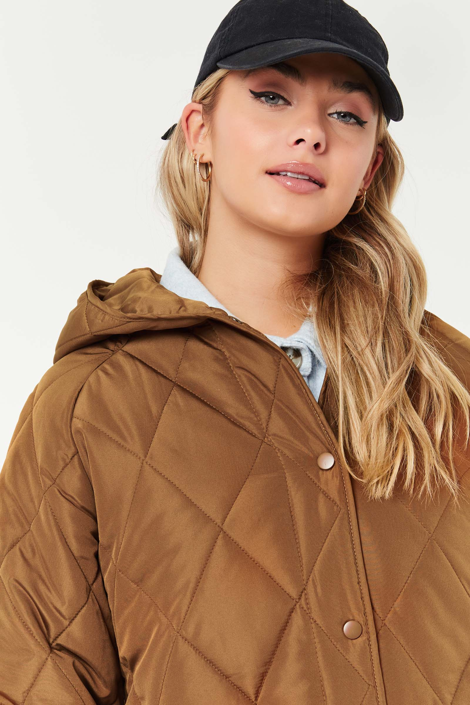 Manteau matelassé ample à capuchon