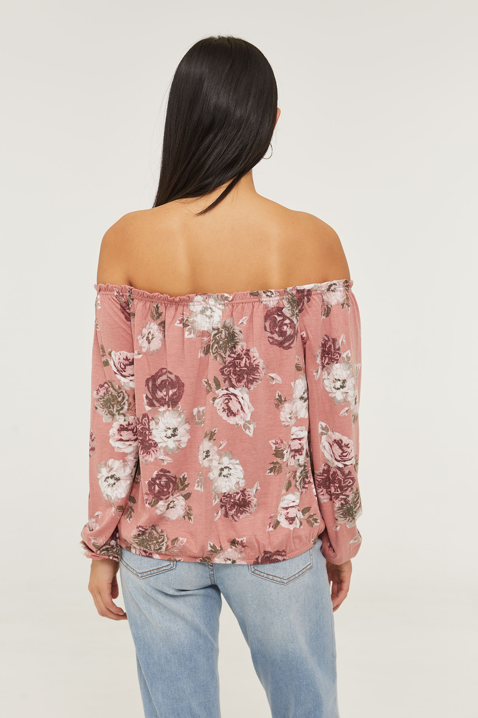 Off Shoulder Floral Tee with Face Covering