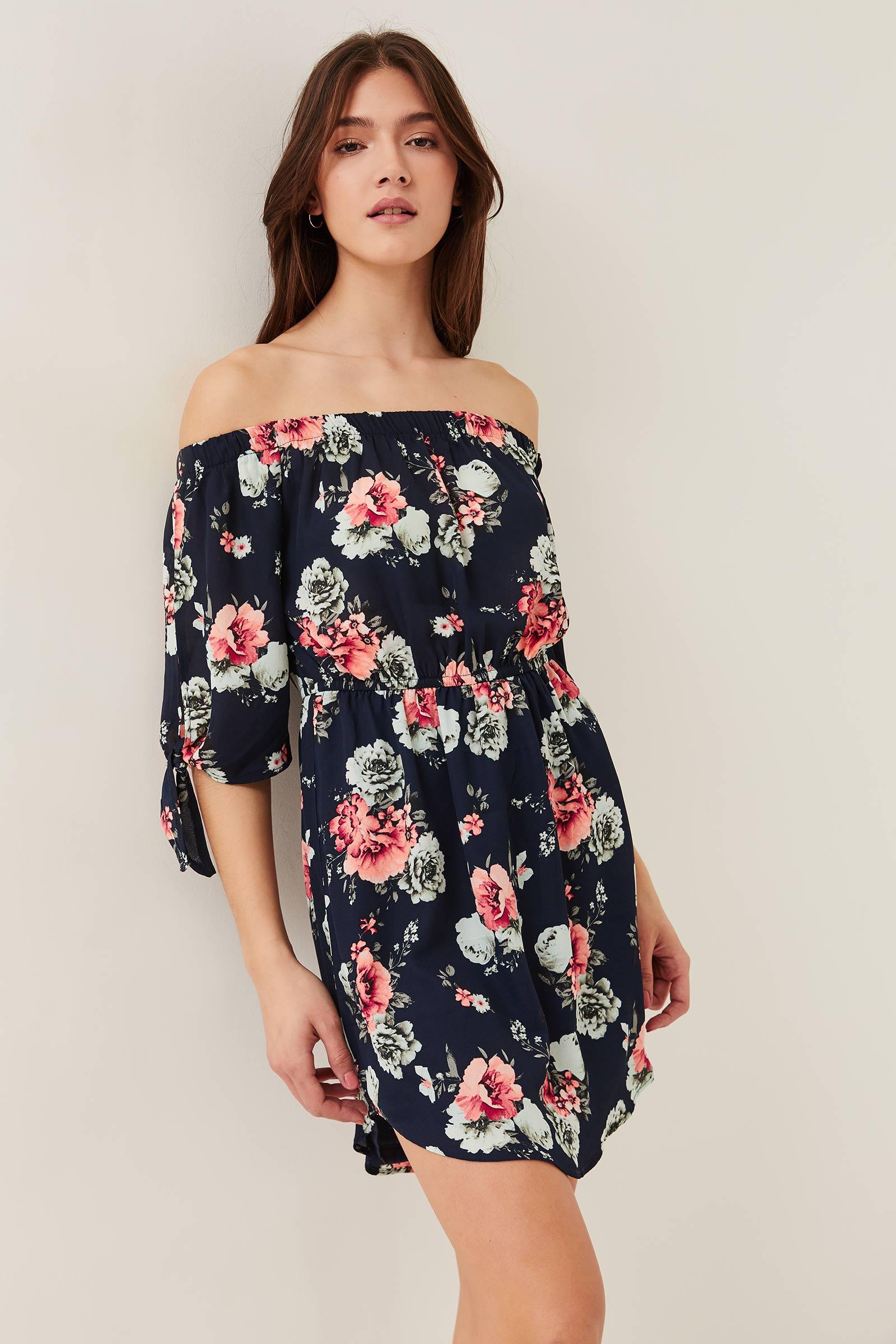 Robe Bardot fleurie courte