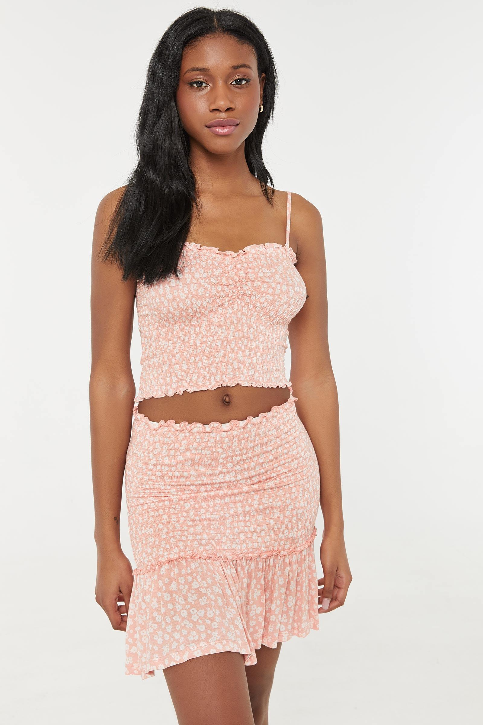 Floral Smocked Mini Skirt