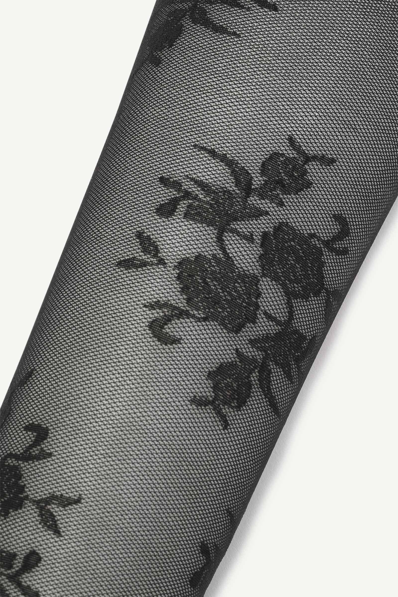 Embroidered Rose Tights