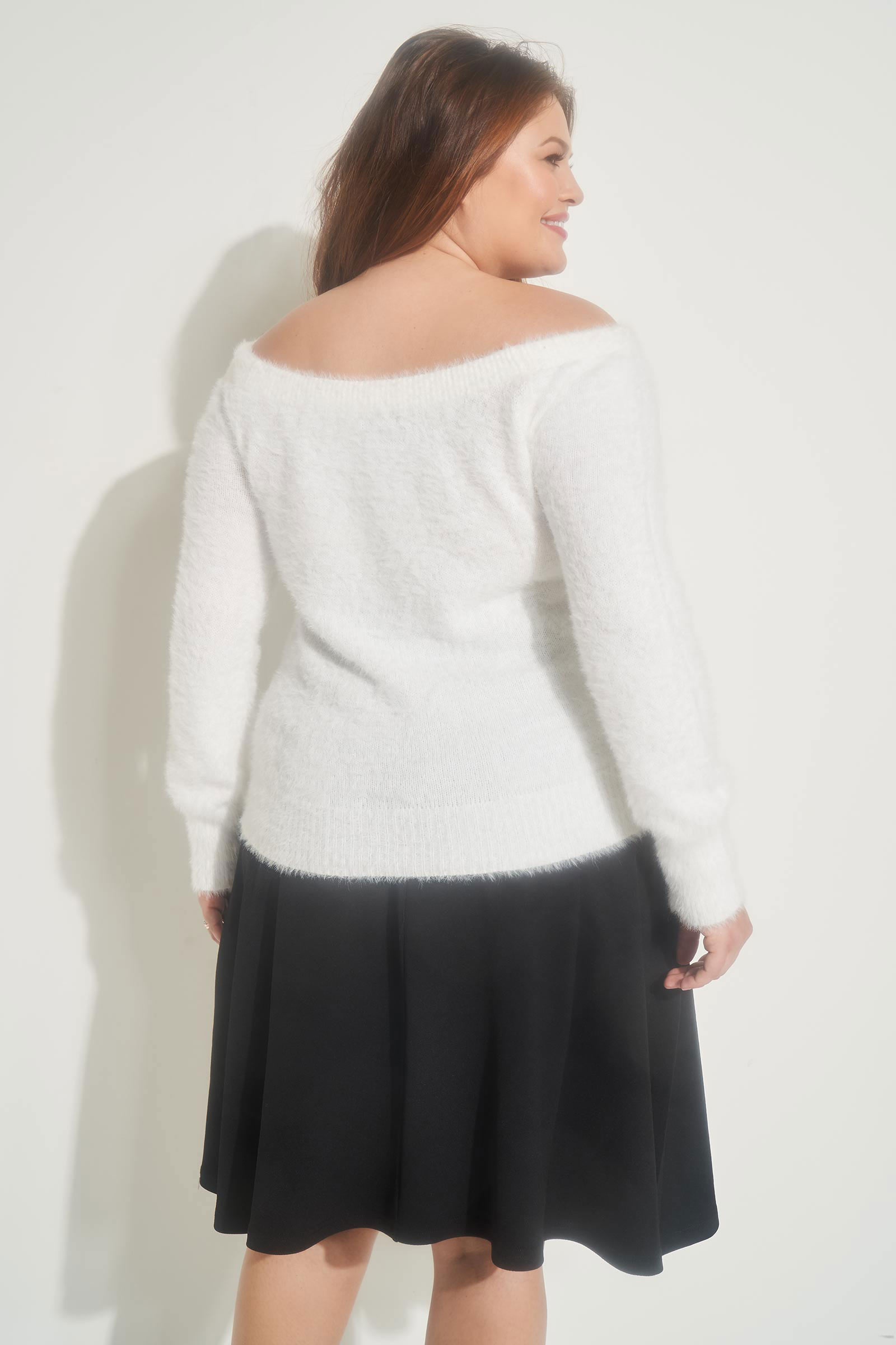 Plus Size Fuzzy Off Shoulder Sweater