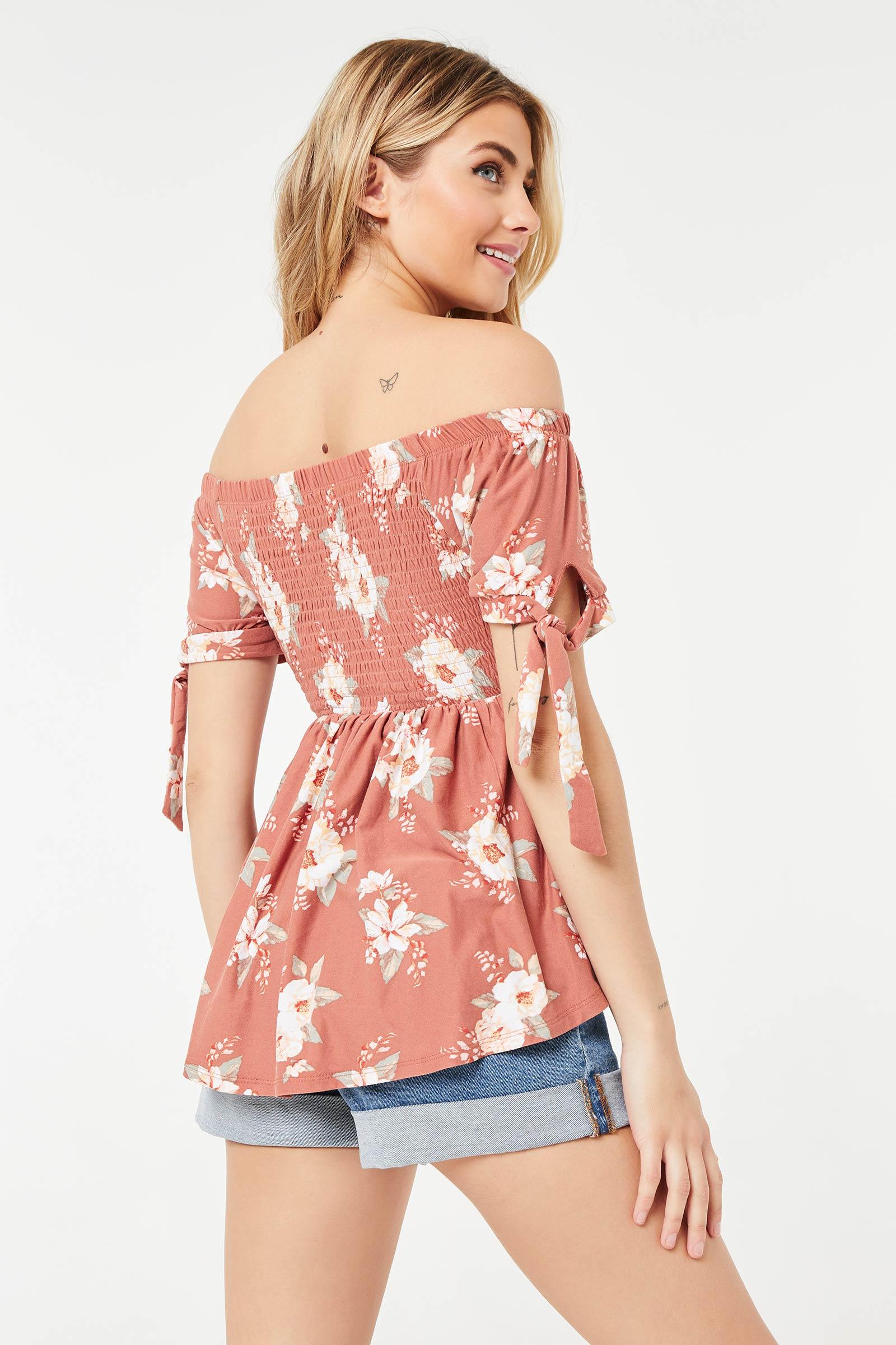 Floral Smocked Off-Shoulder Top