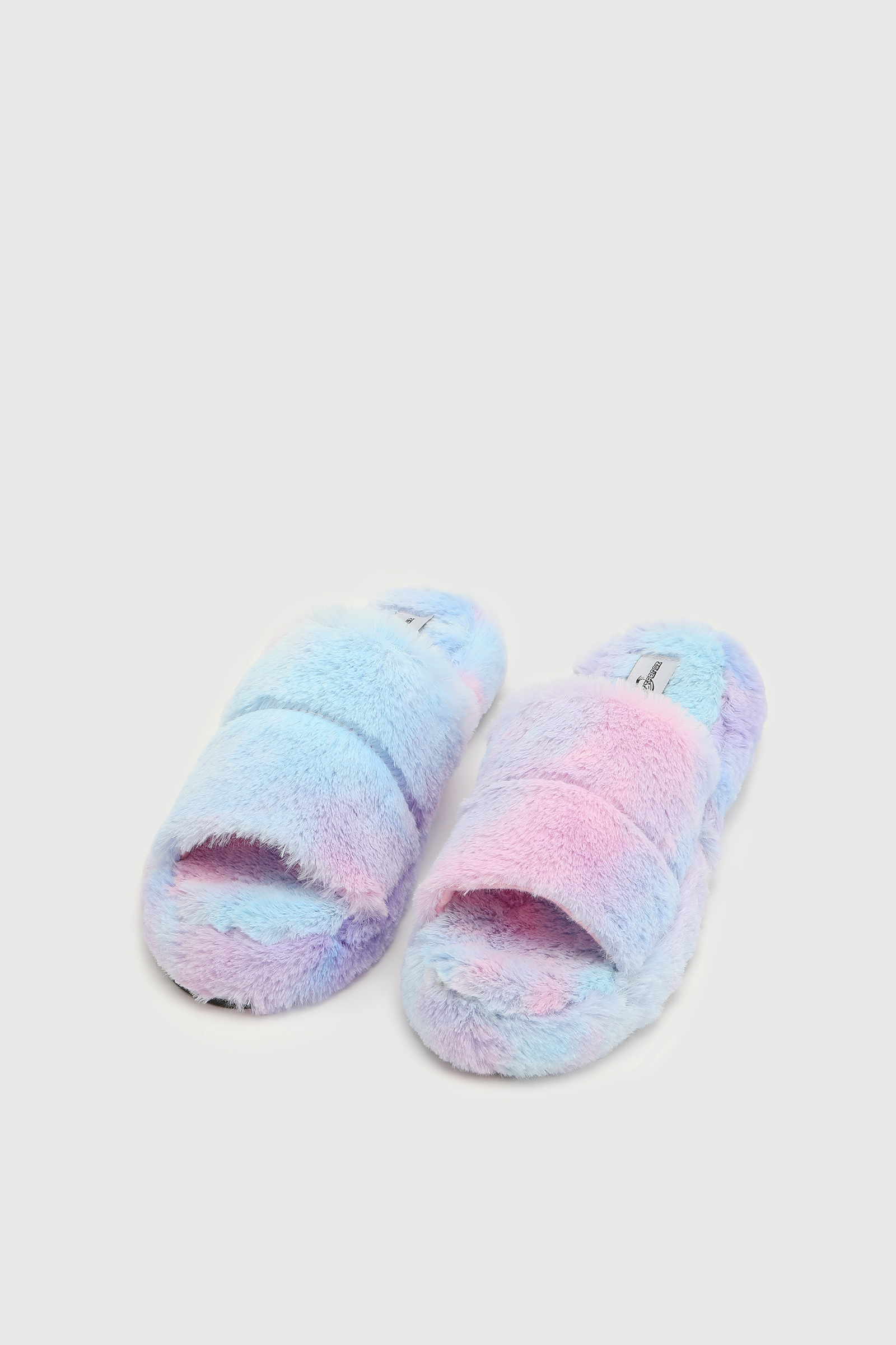 Pantoufles glissières tie-dye en fausse fourrure