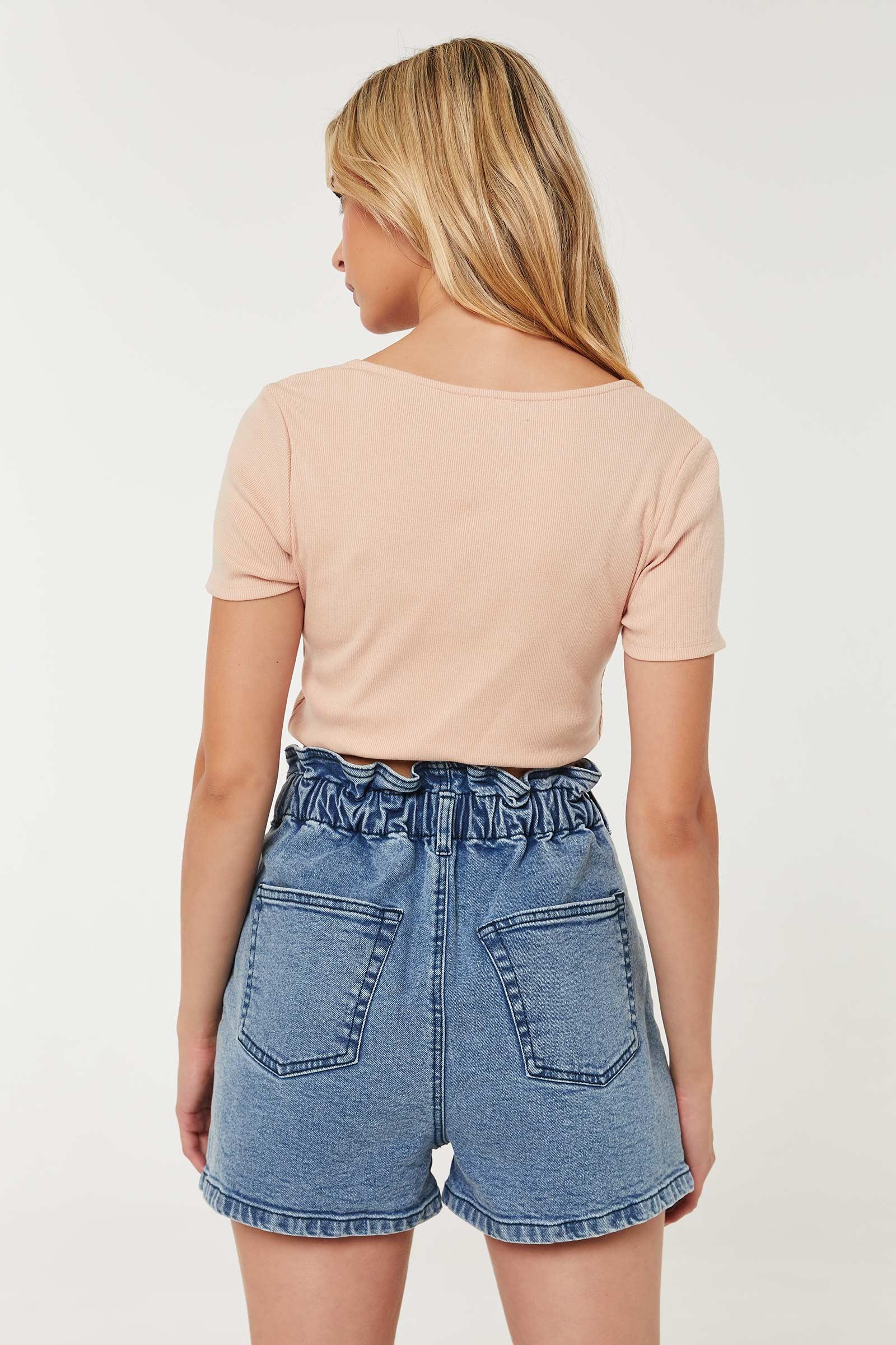 High Rise Pleated Denim Shorts