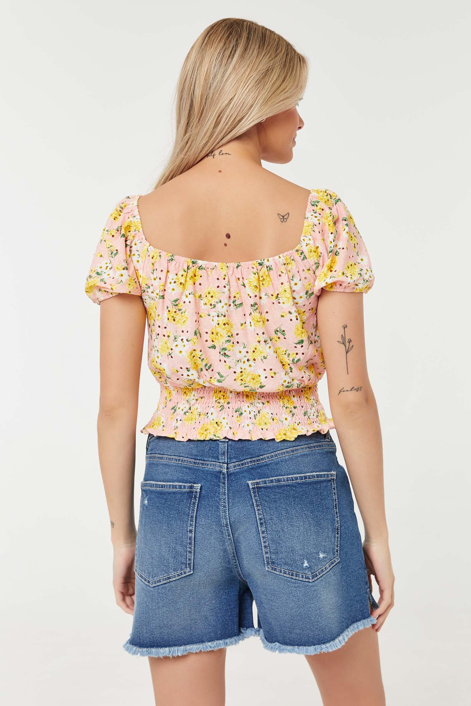 Floral Off-Shoulder Smocked Top