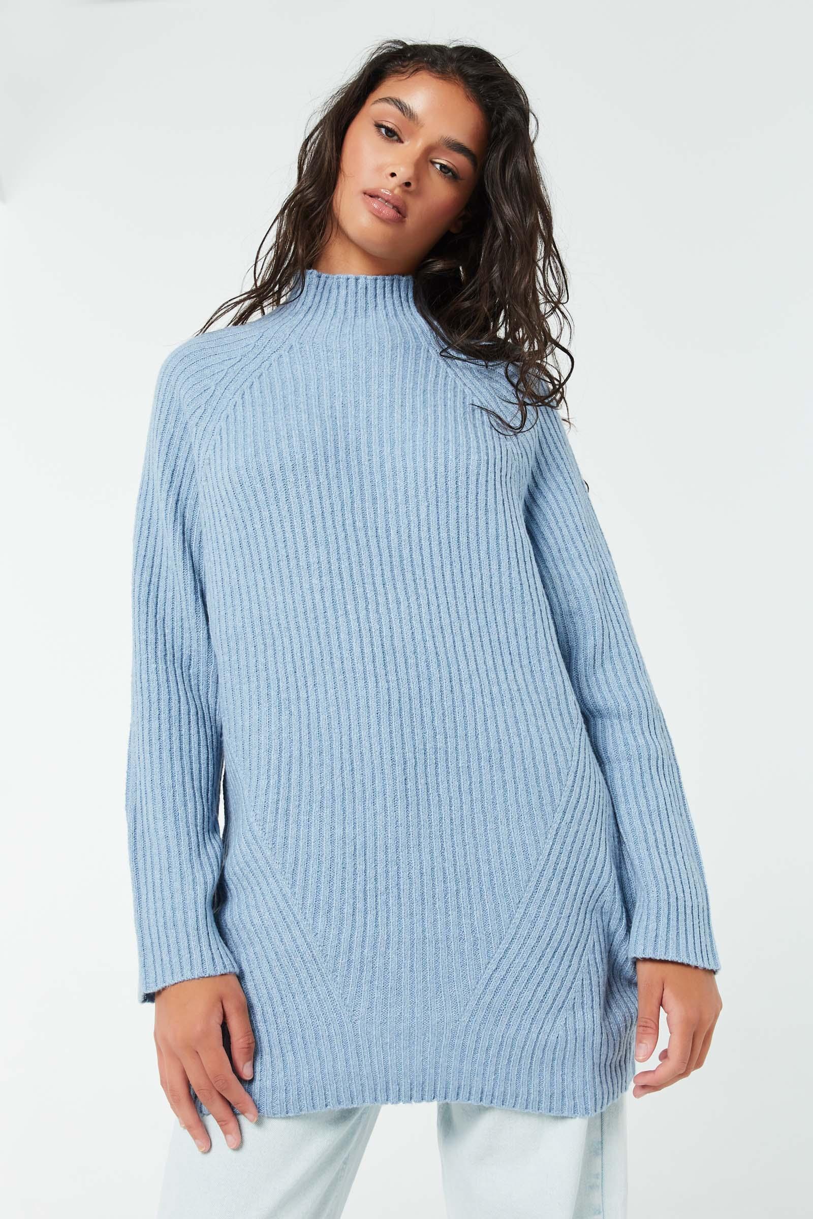 Tunic Raglan Sweater with Mock Neck
