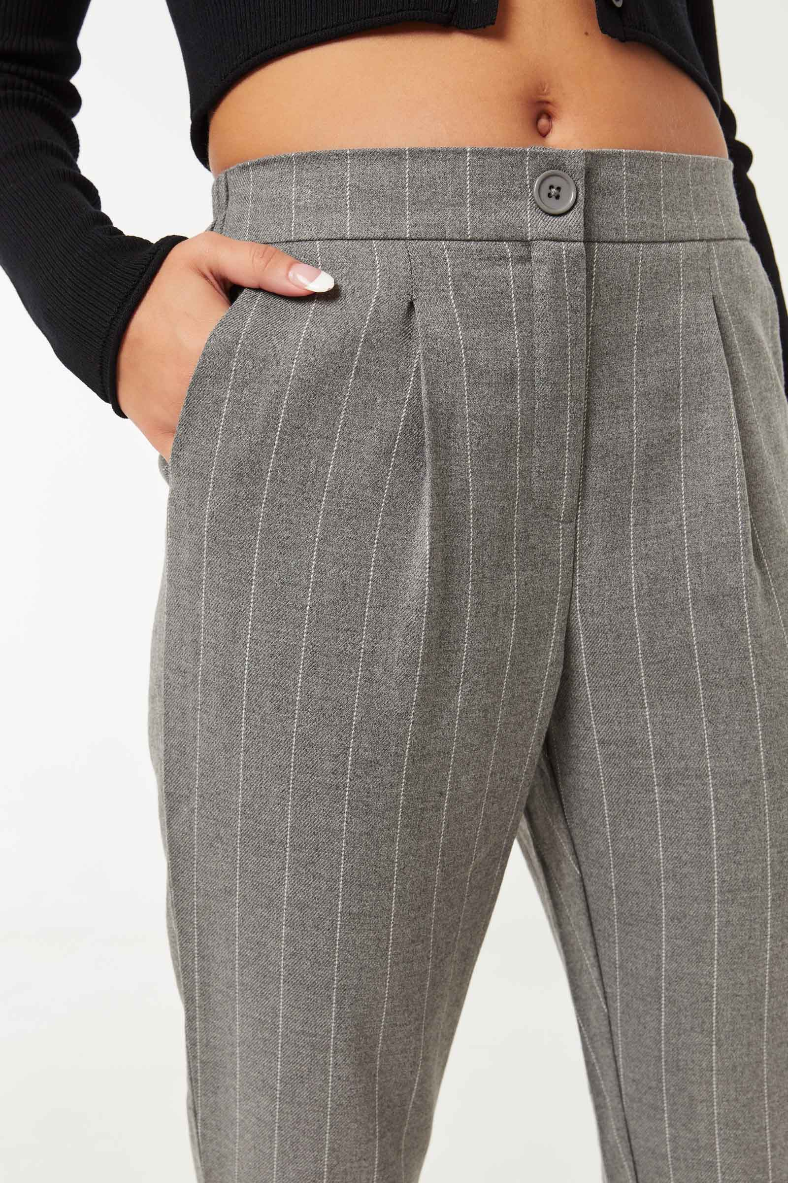 High Rise Striped Trousers