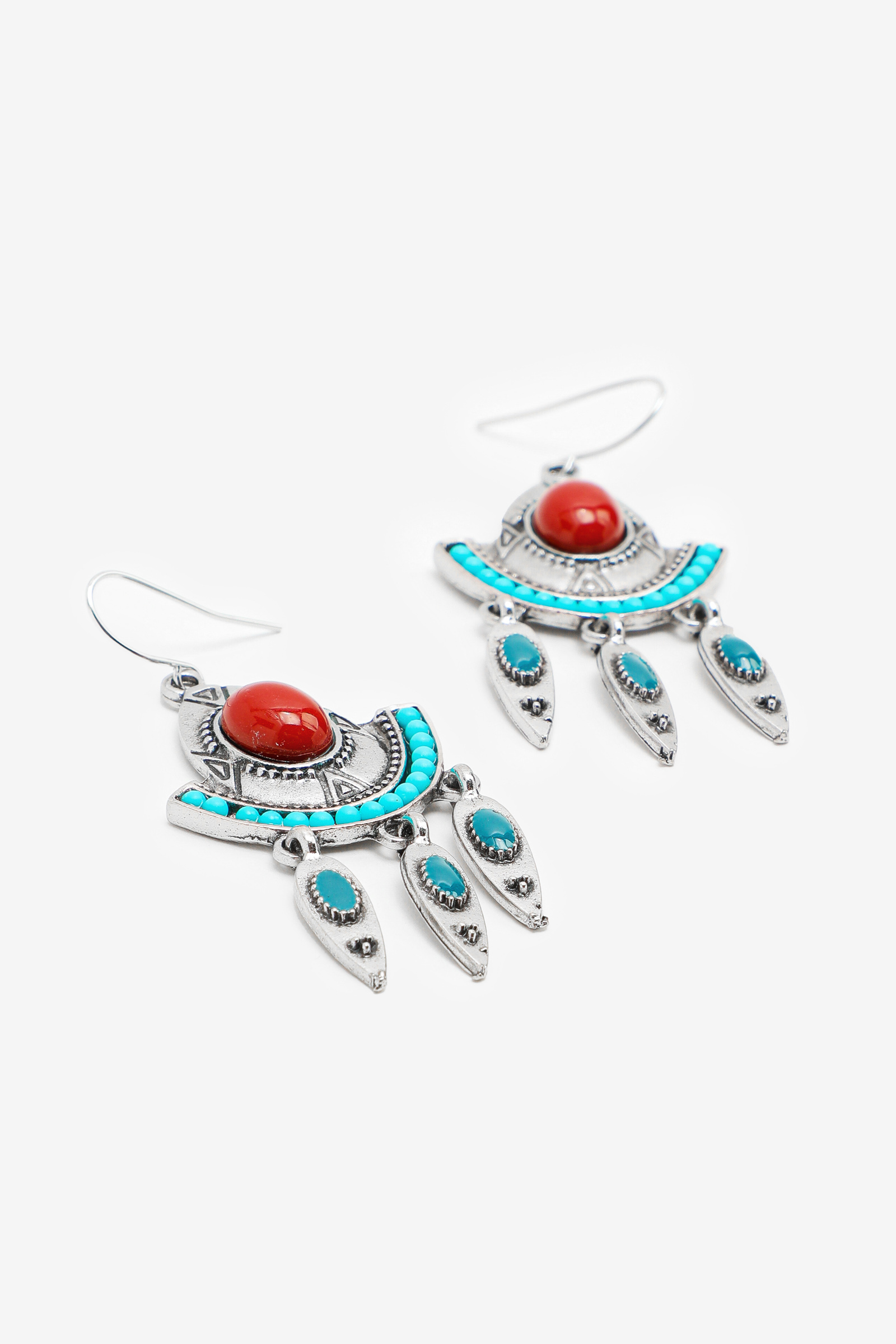 Red and Turquoise Dangling Earrings