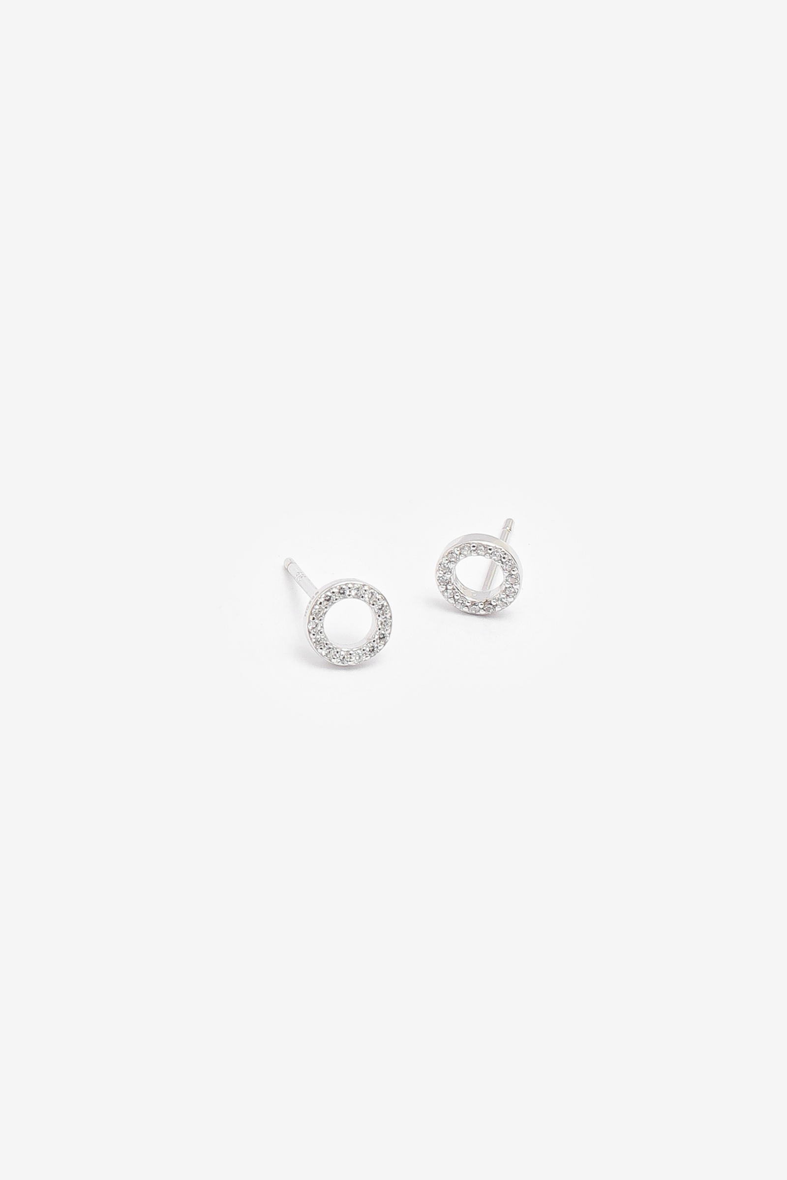 Sparkly Sterling Silver 'O' Studs