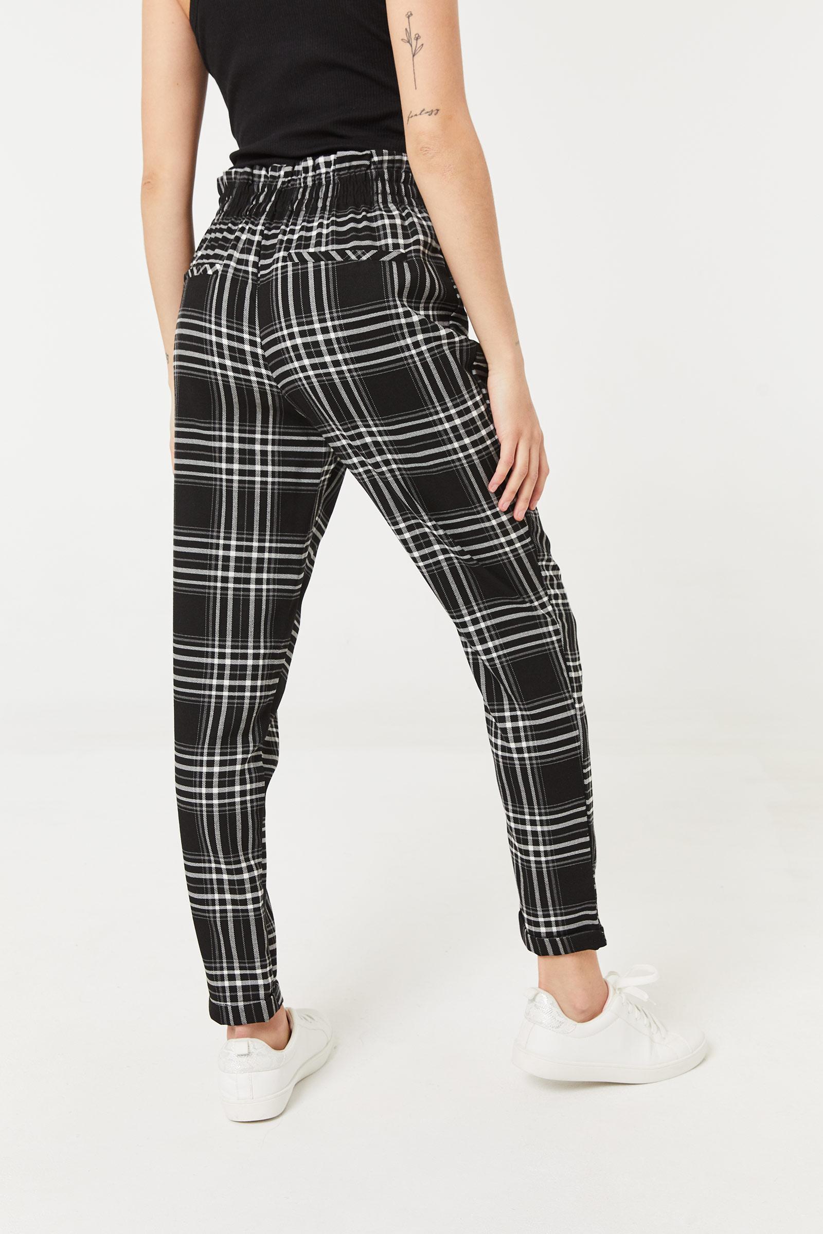 Pantalon plissé à carreaux