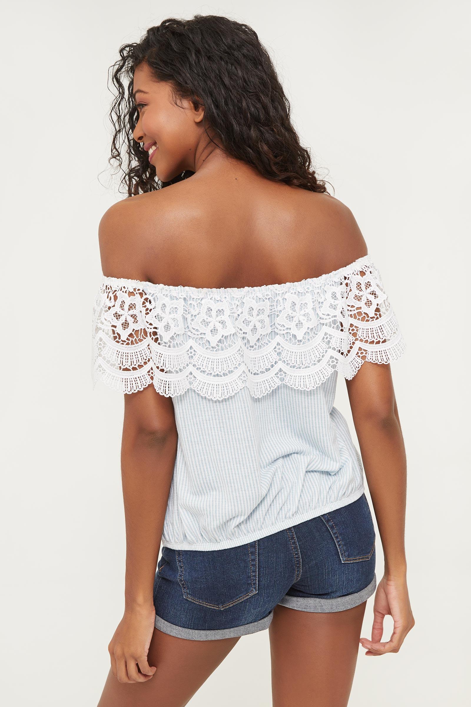 Striped Off Shoulder Crochet Flounce Top