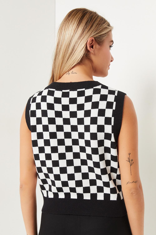 Checkered Sweater vest