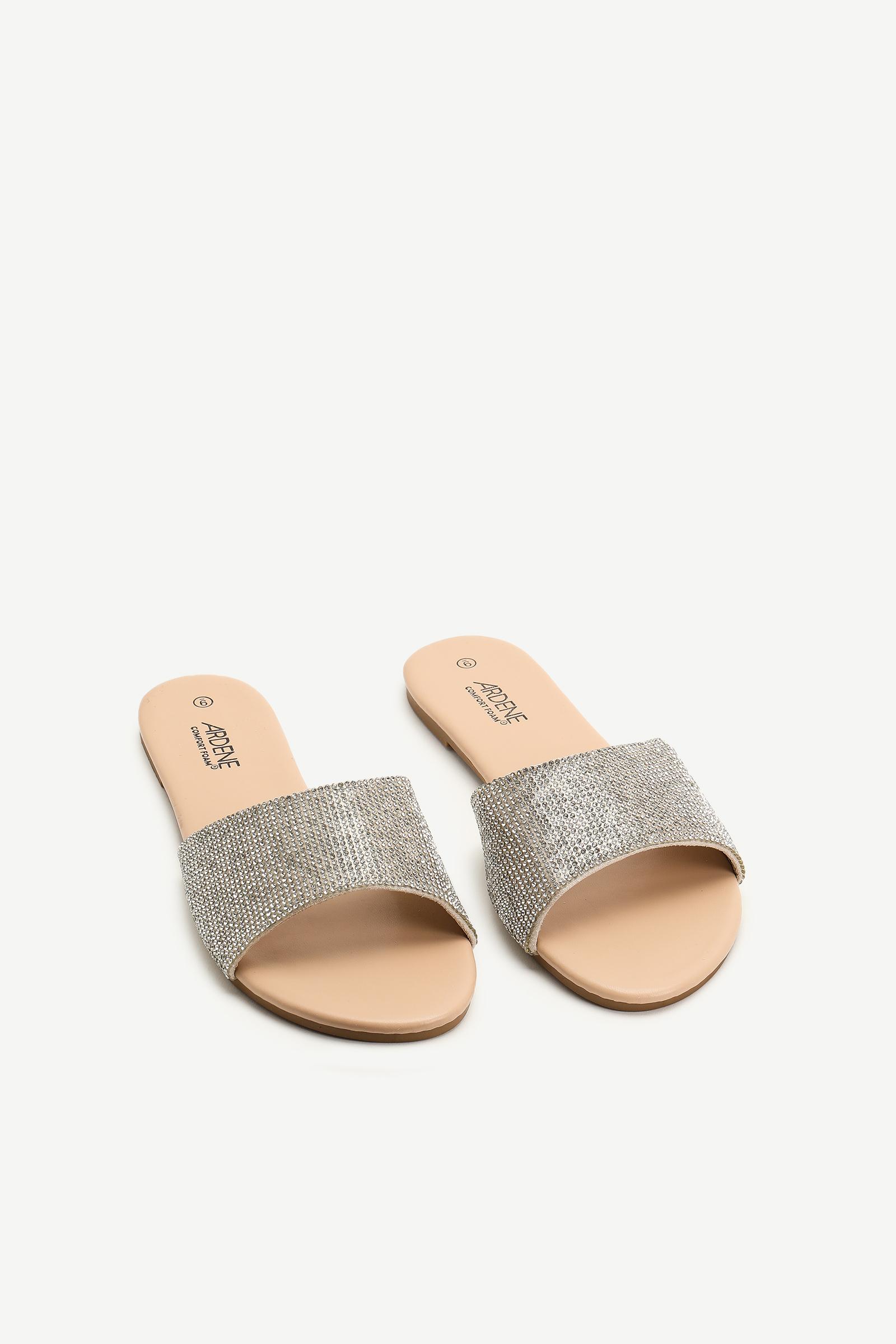 Sandales glissières à cristaux