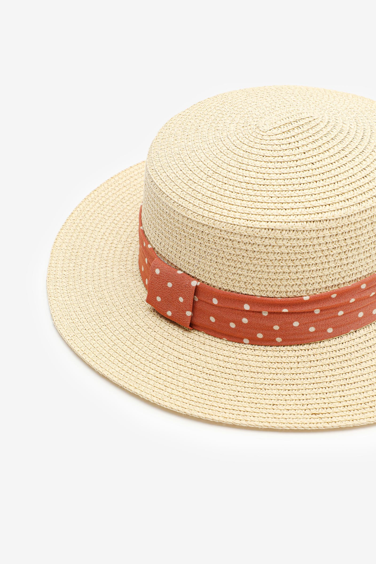 Straw Boater Hat with Polka Dot Band