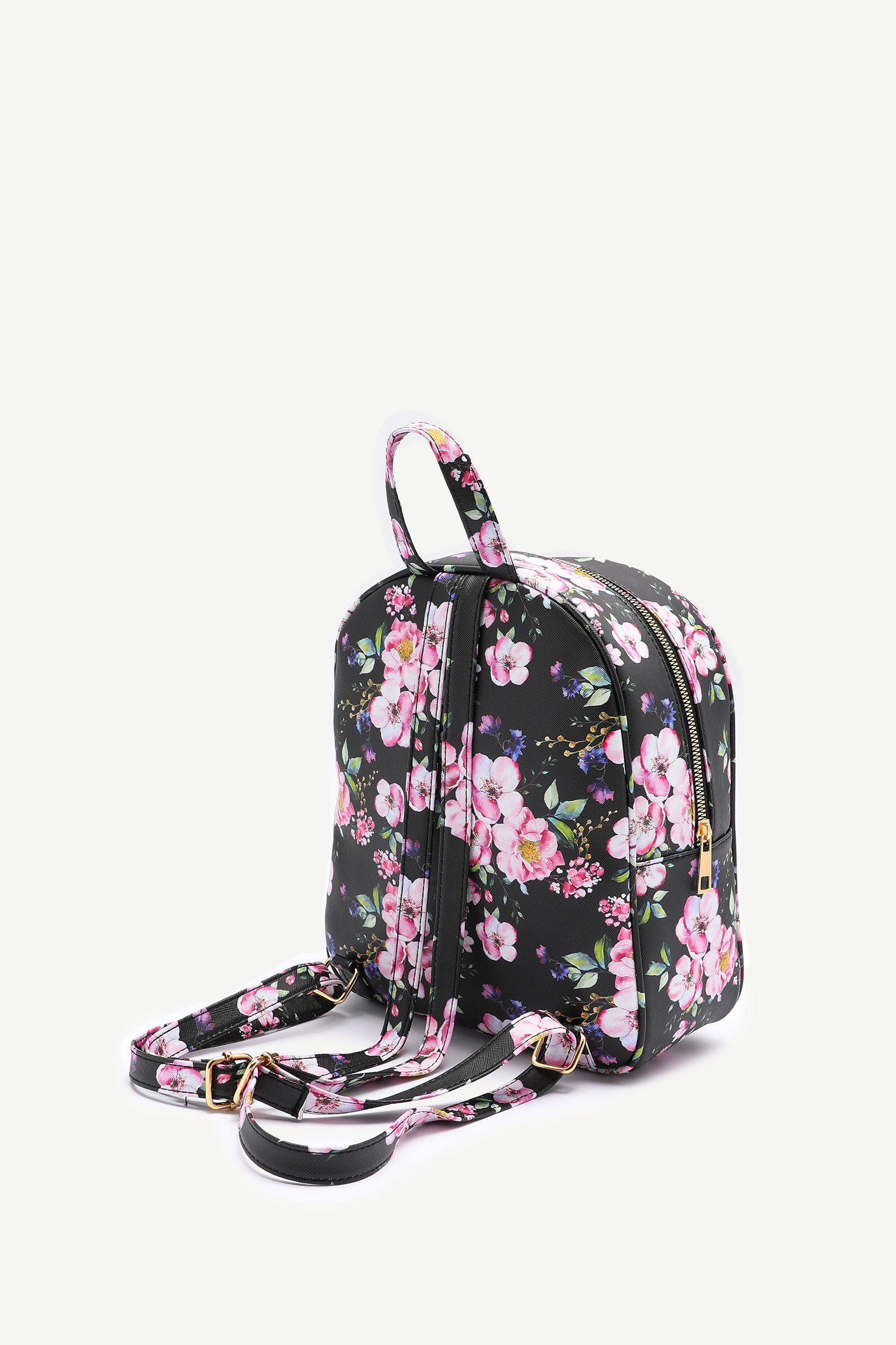 Basic Faux Leather Floral Backpack
