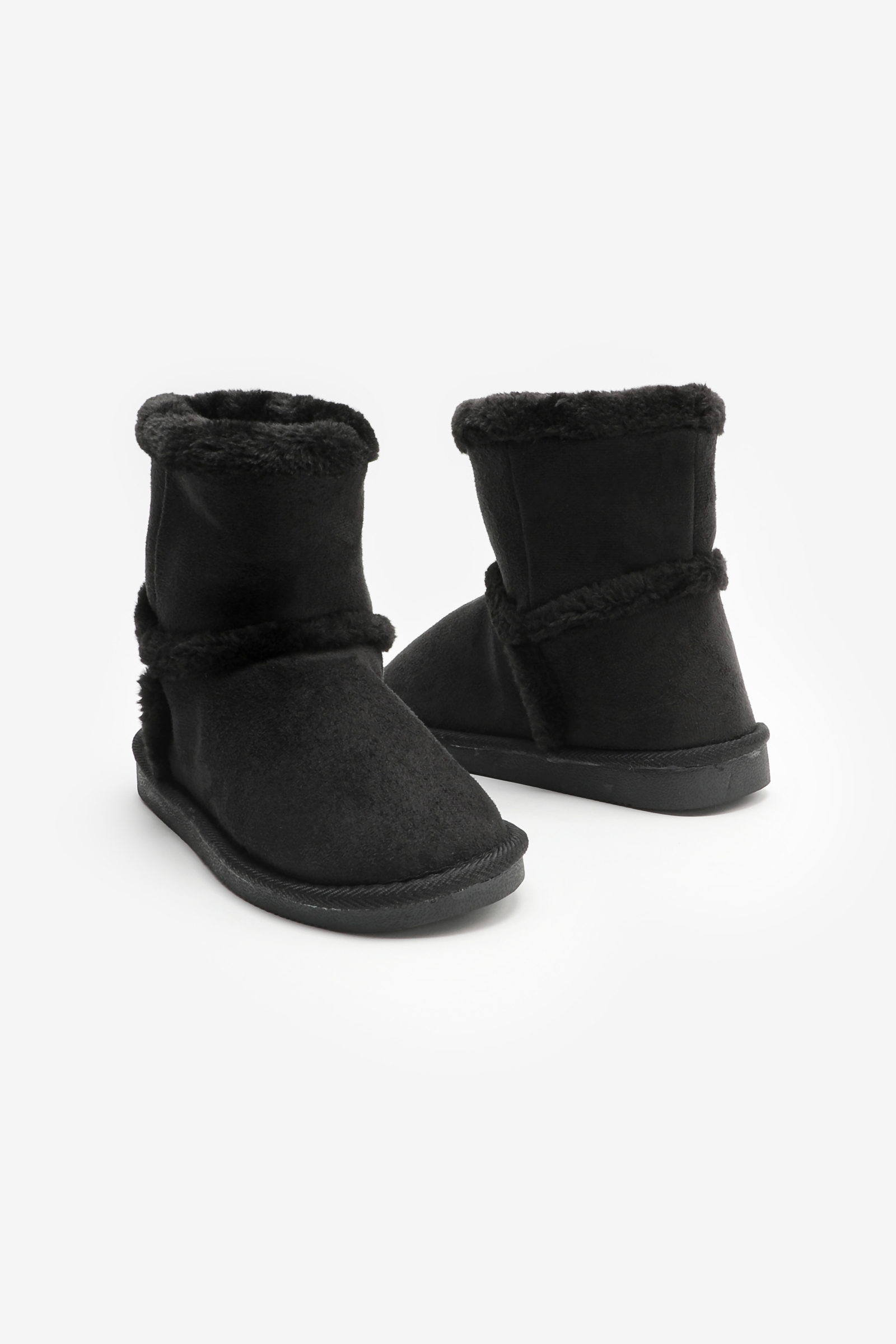 Faux Suede Moccasin Boots with Trims