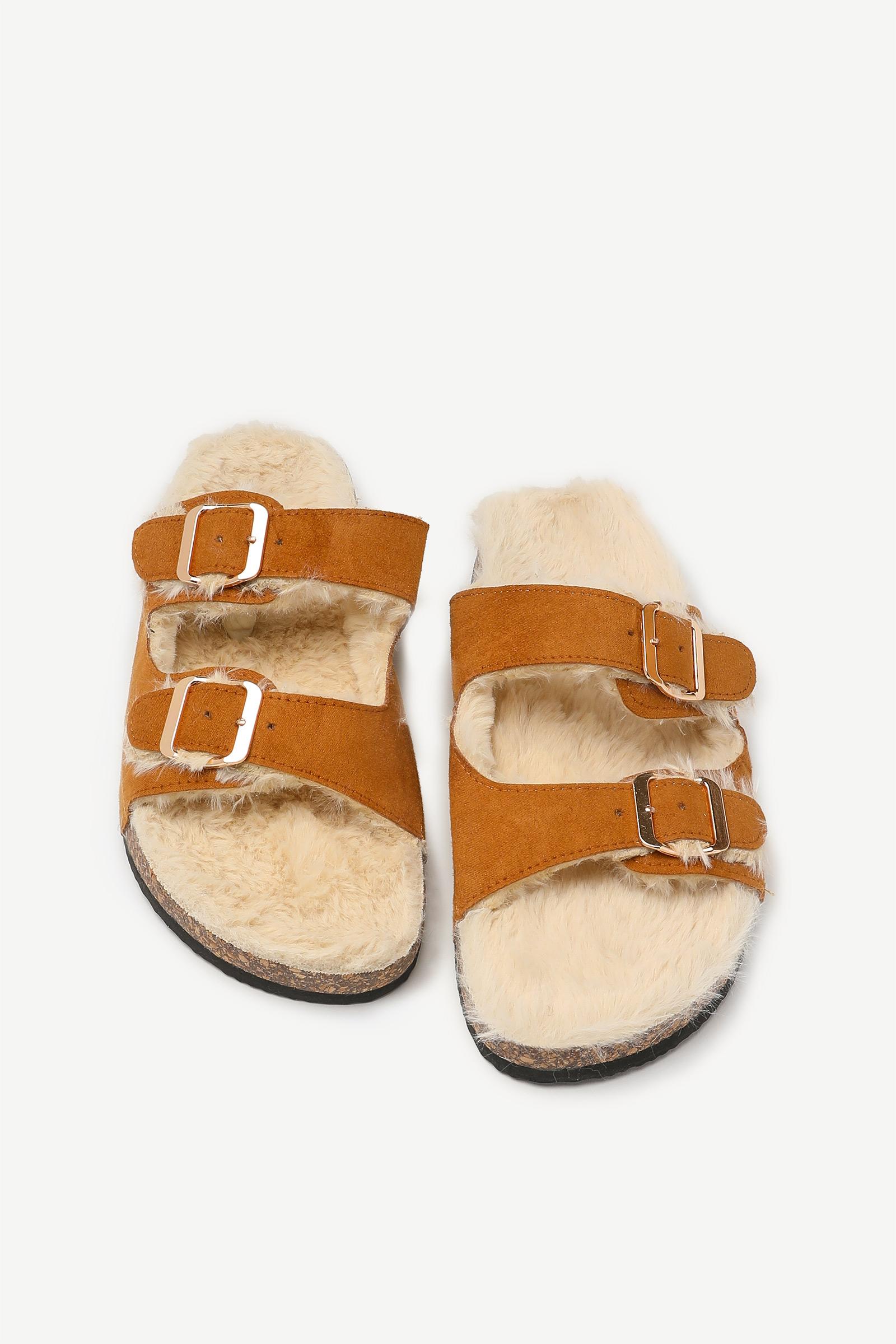 Faux Fur Cork Slides