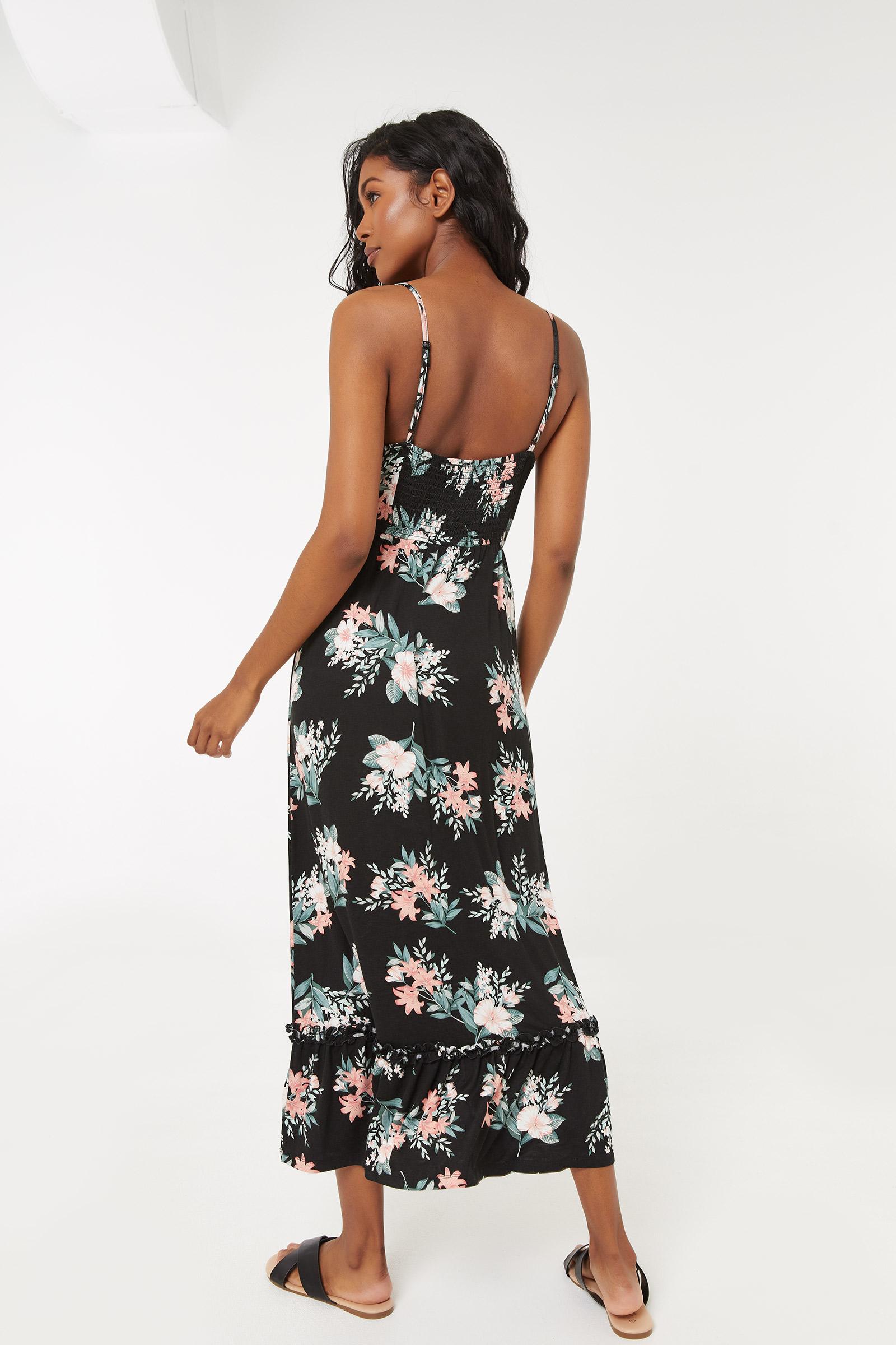 Ruffled Midi Tropical Dress