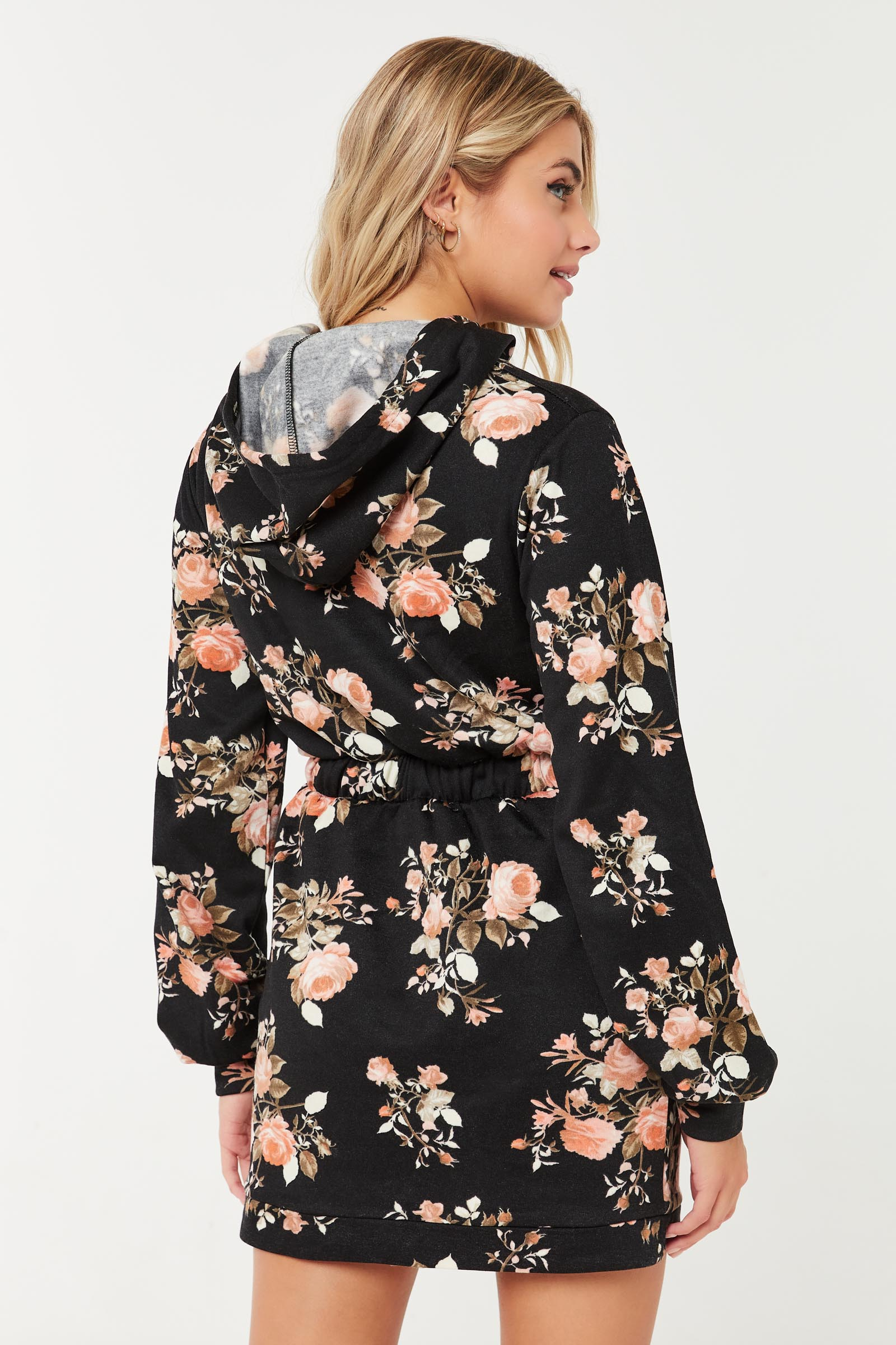 Floral French Terry Hoodie Dress