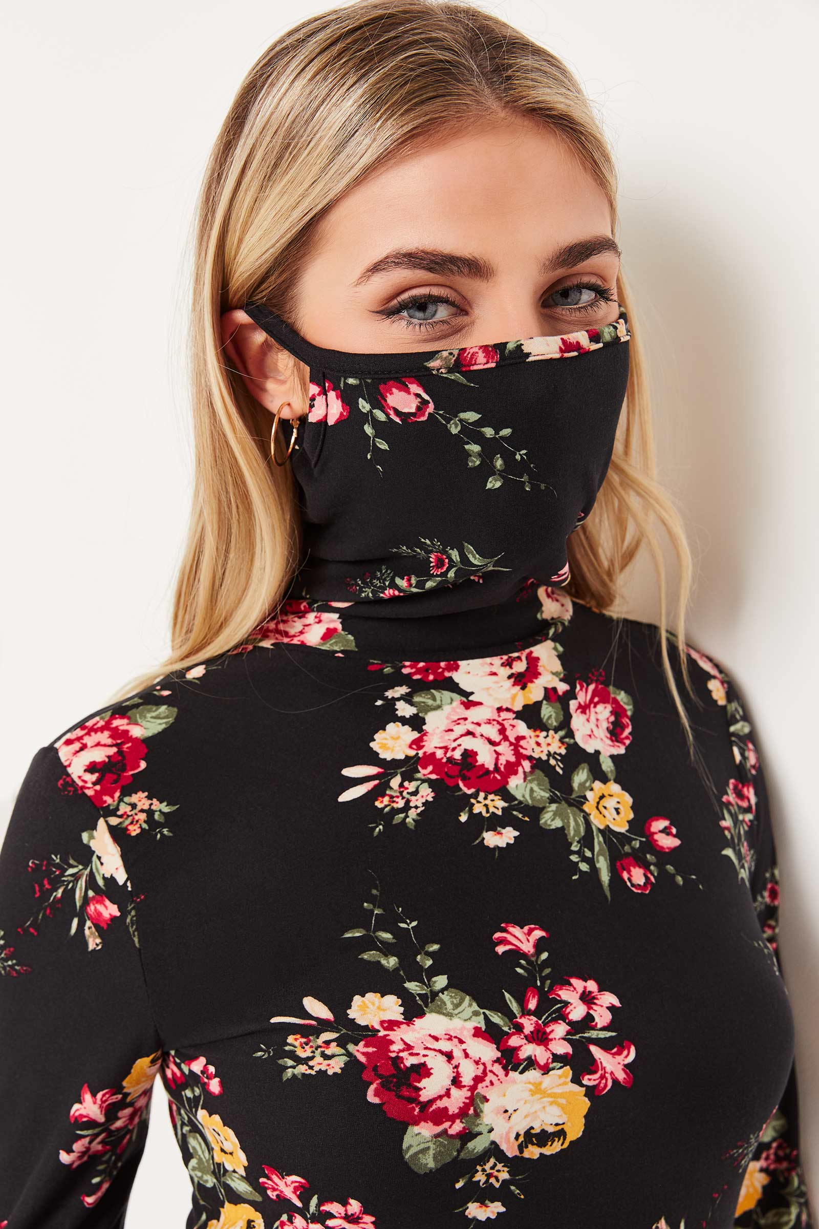 Floral Top with Integrated Mask