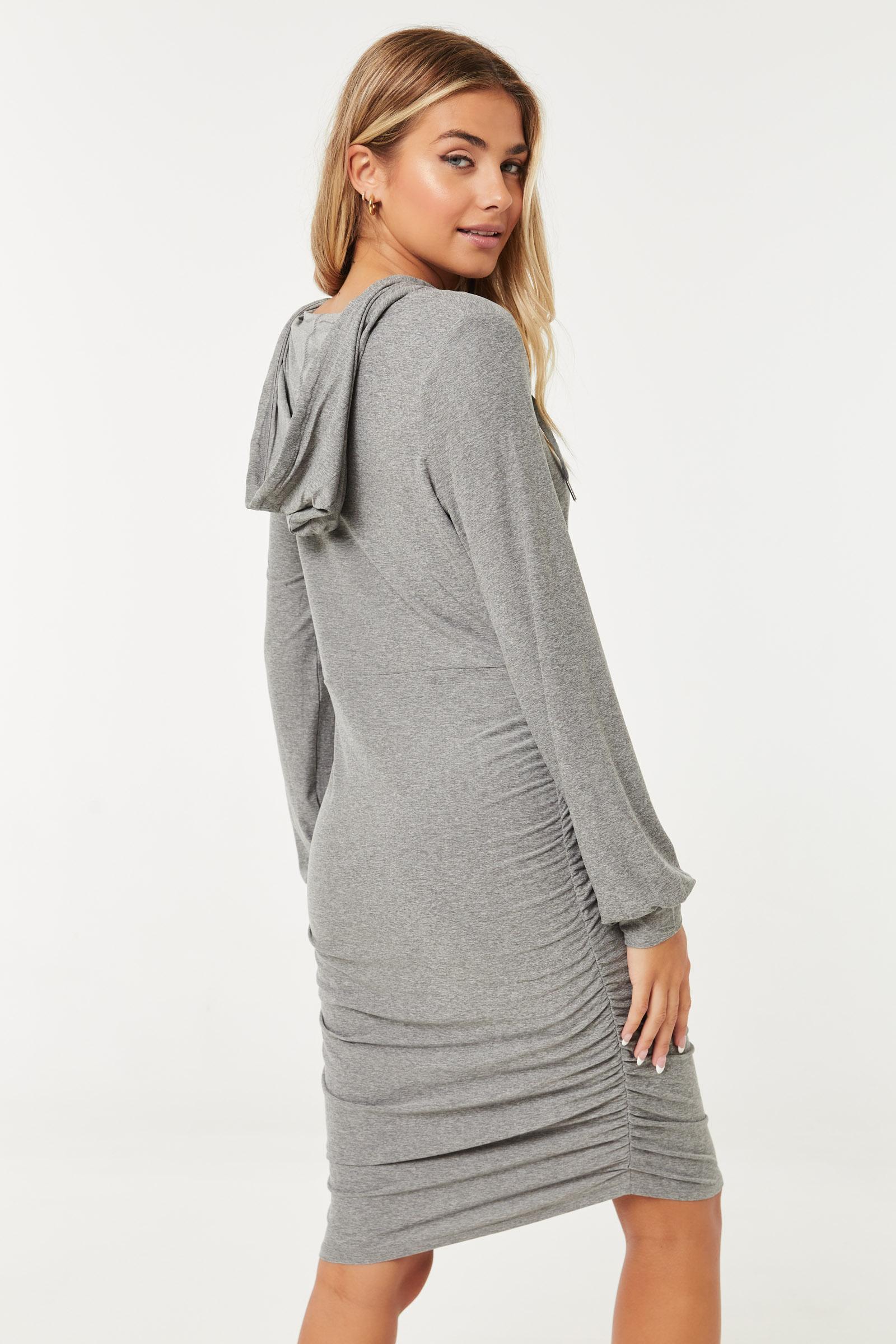 Front-Zip Mini Hoodie Dress