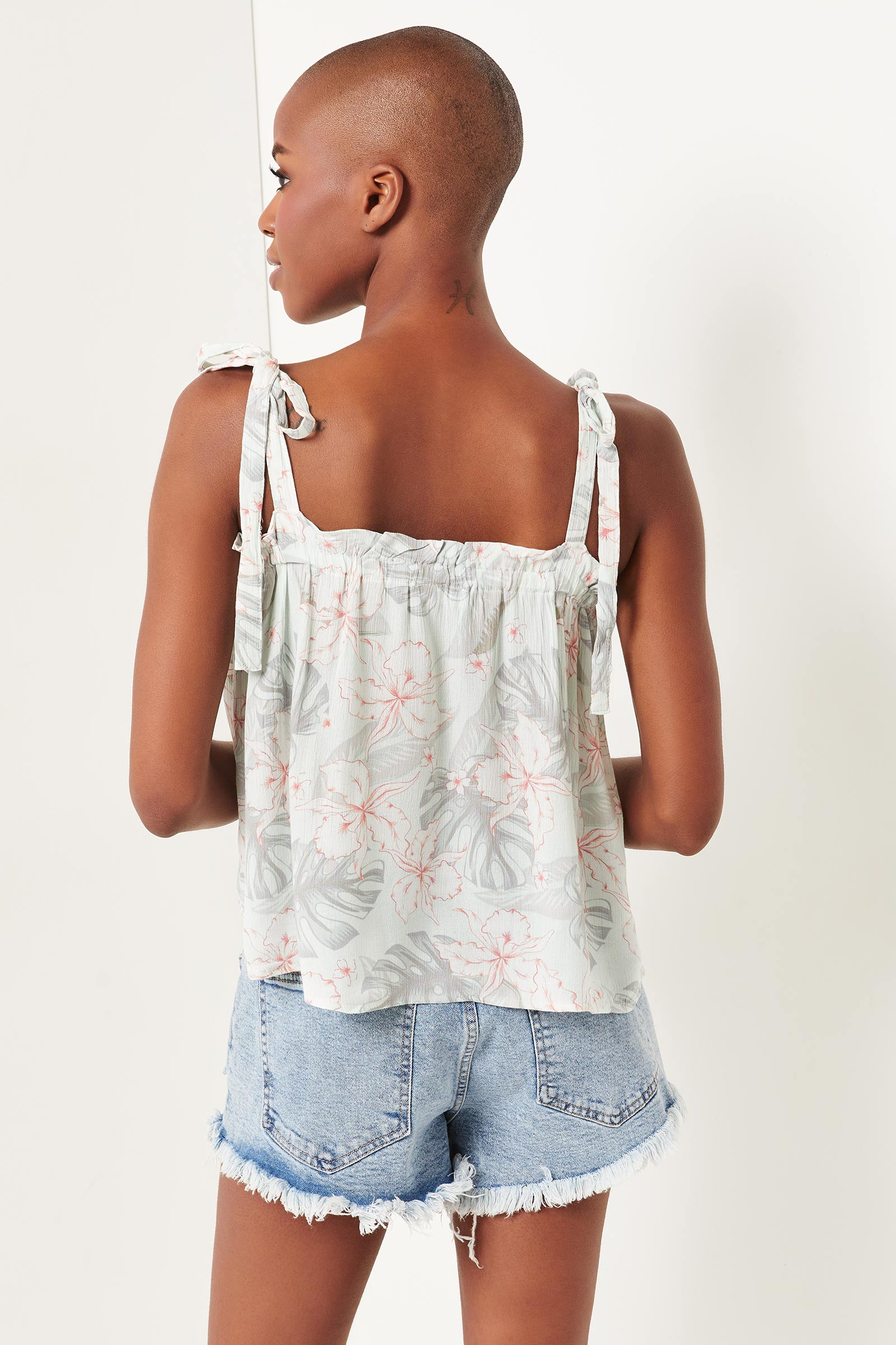 Tropical Tank Top with Tie Straps