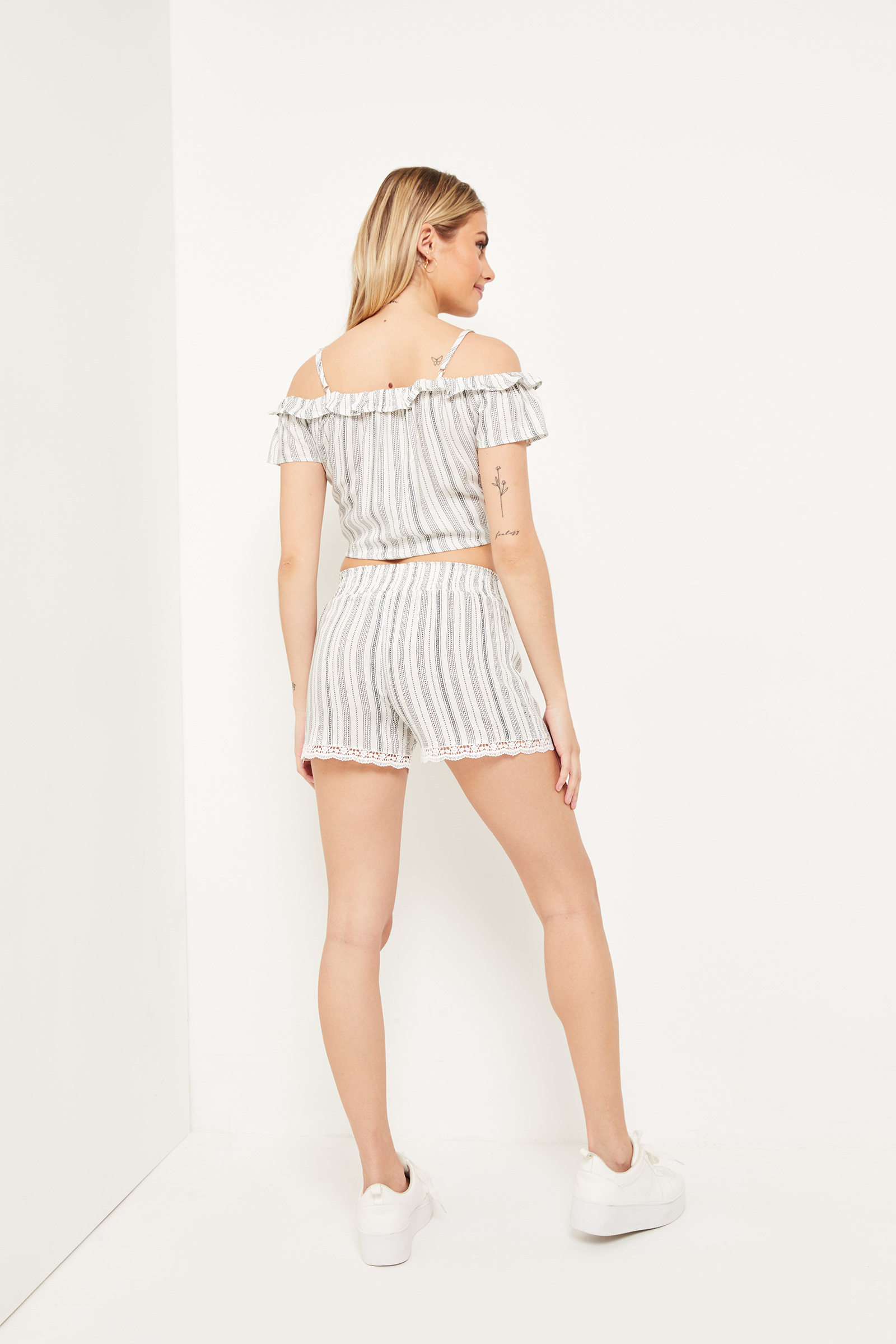 Striped Smocked High Rise Shorts