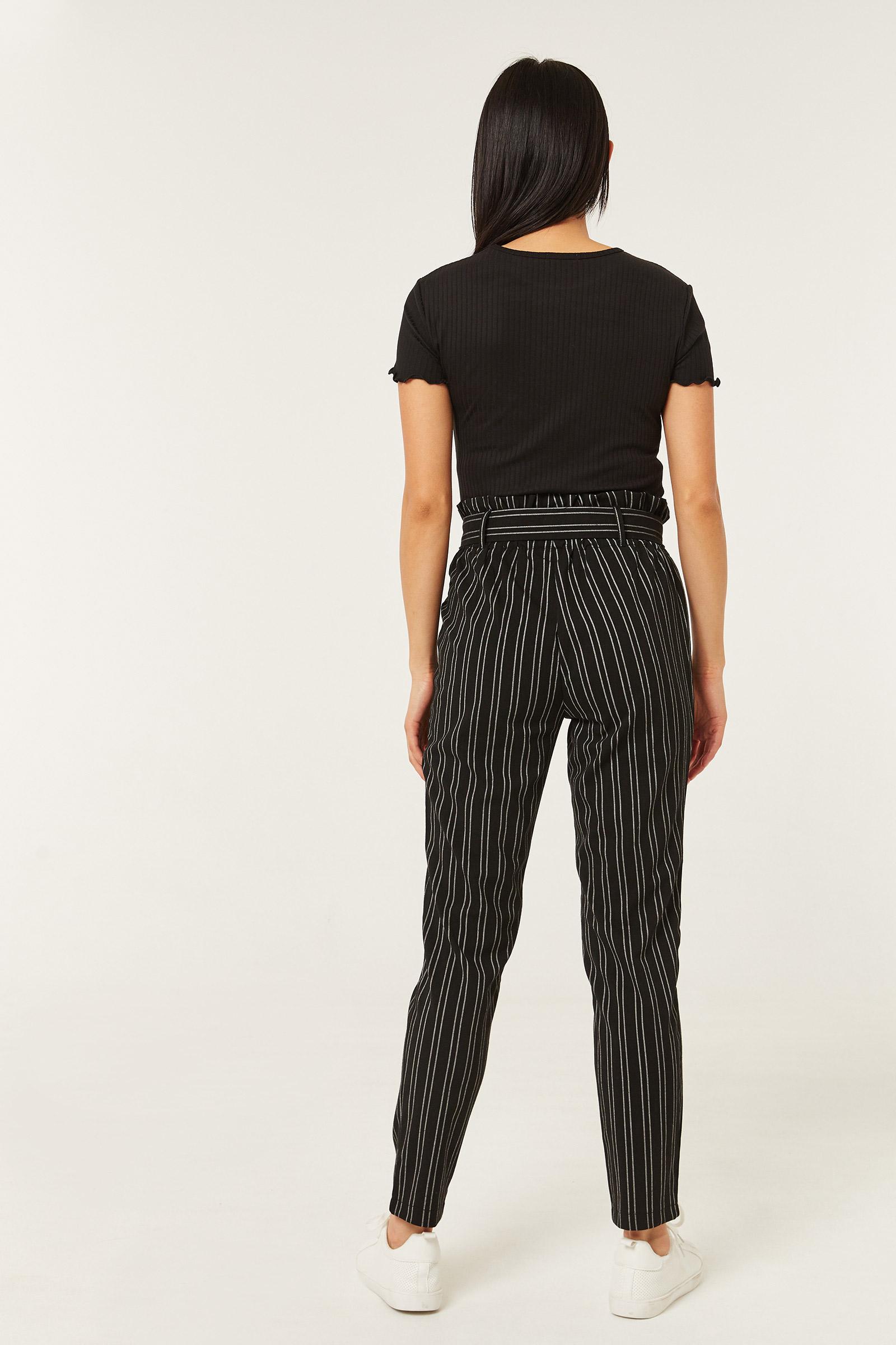 Belted Paper Bag Striped Pants