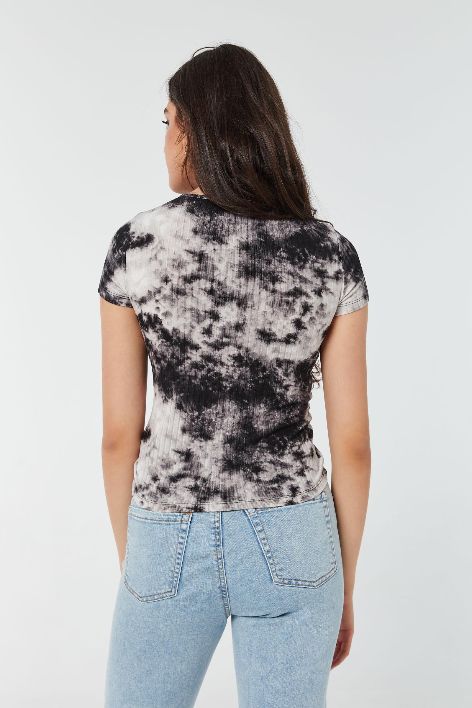 T-shirt ruché à cordon tie-dye
