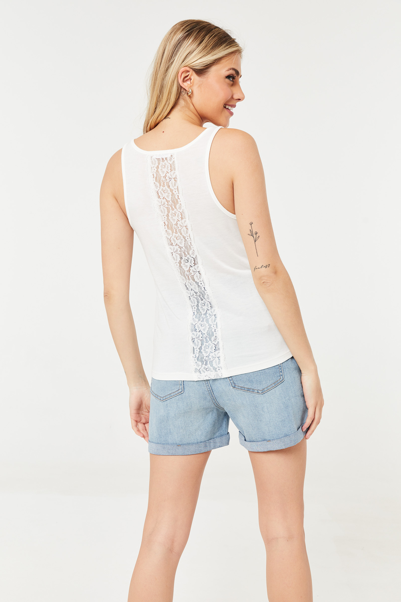 Rose Flower Tank with Lace