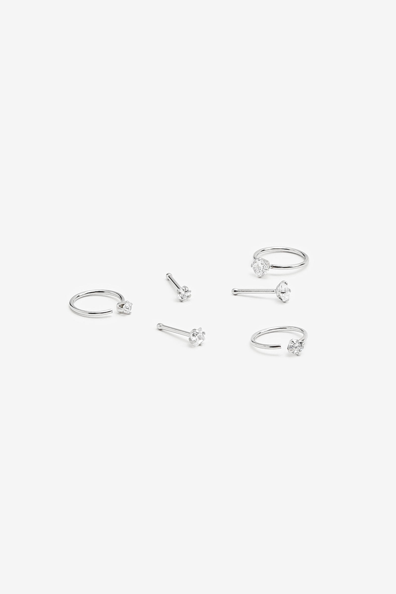 Pack of Nose Piercings with Crystals
