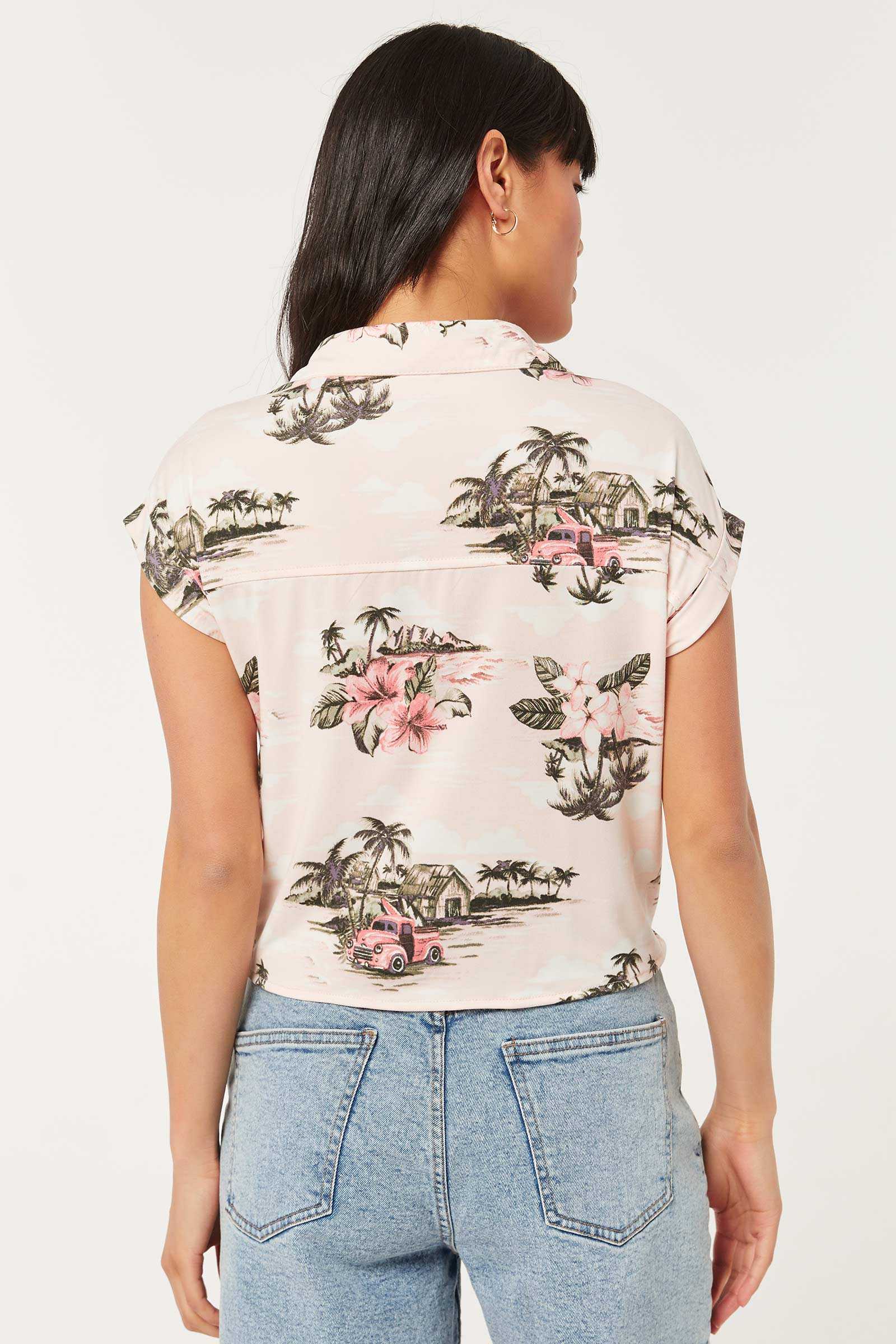 Buttoned Palm Tree Knotted Shirt