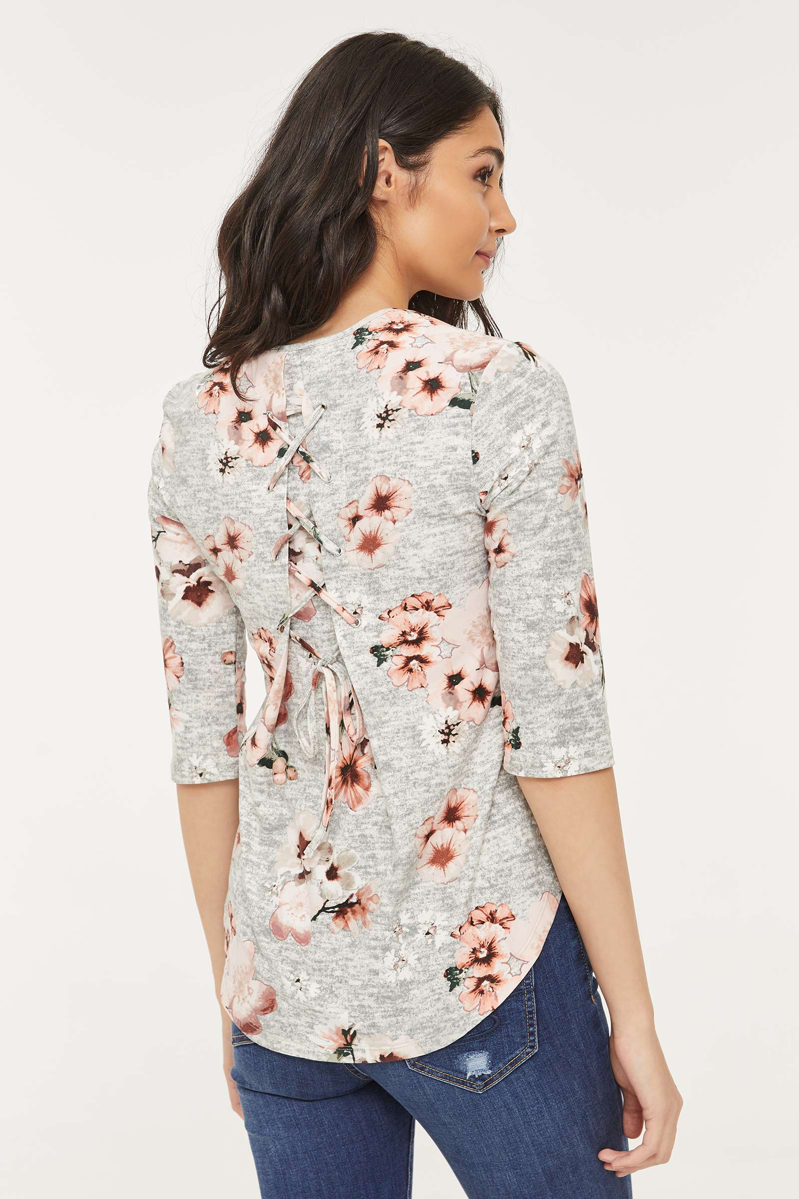Floral Top with Lace-up Back