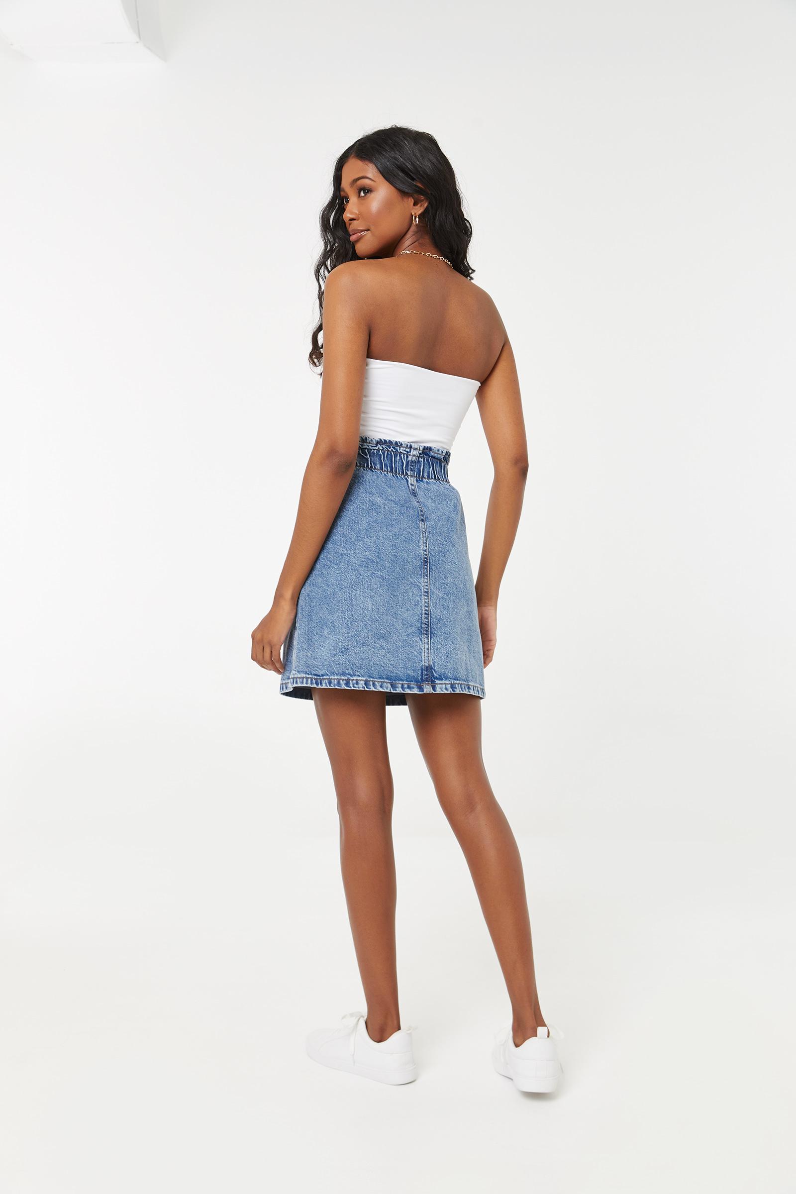Ruched Mini Denim Skirt
