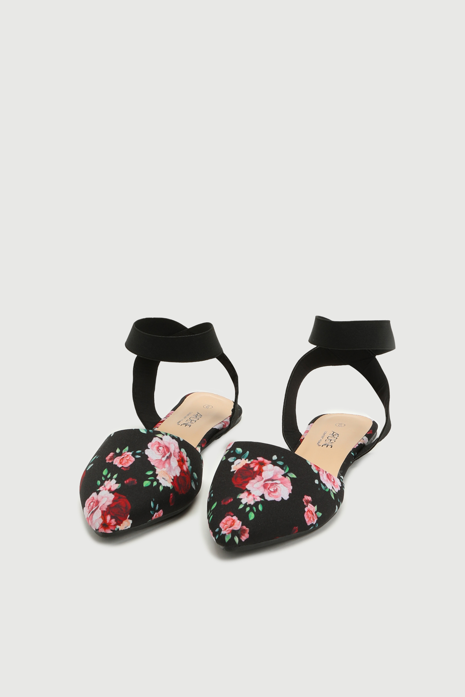 Floral Open Flats with Elastic Strap
