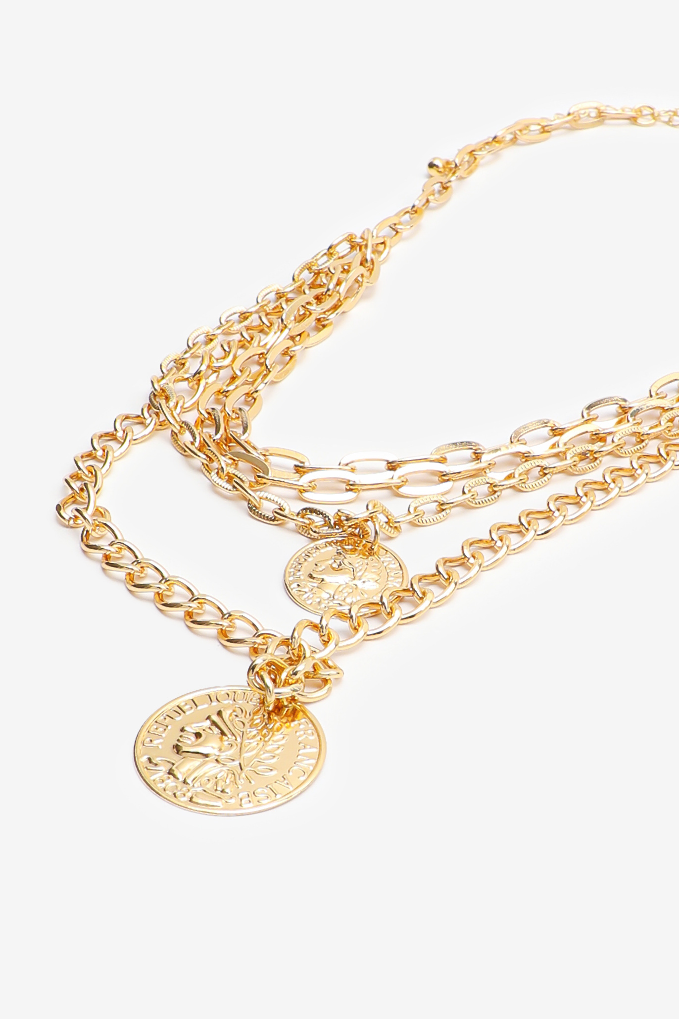 Layered Chain Necklace with Coins