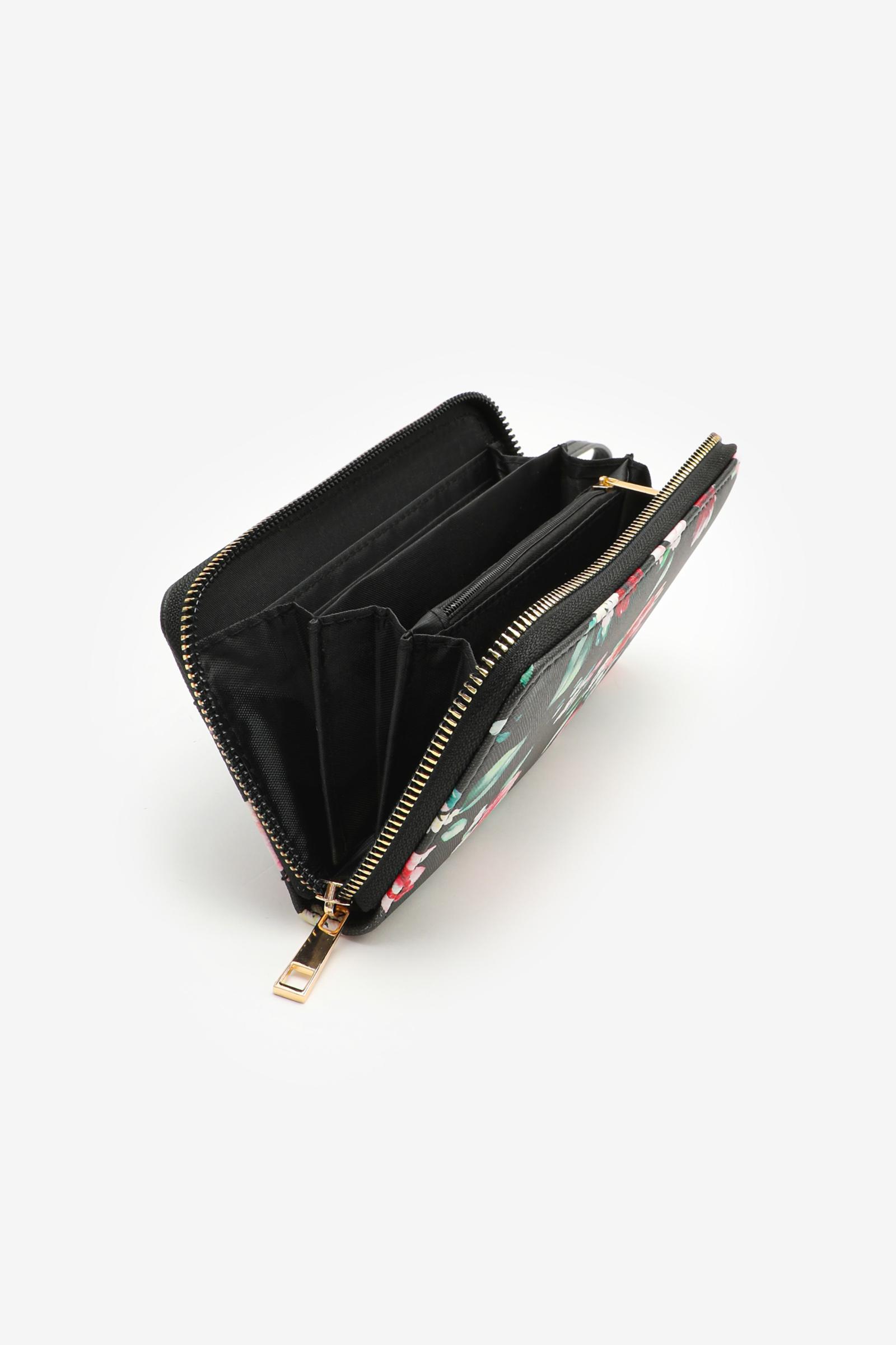 Floral Double Front Zipper Accordion Wallet