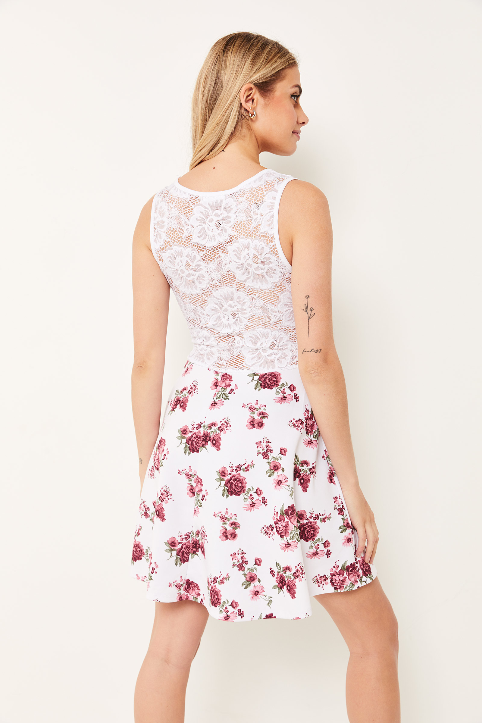 Lace and Floral Crepe A-line Dress