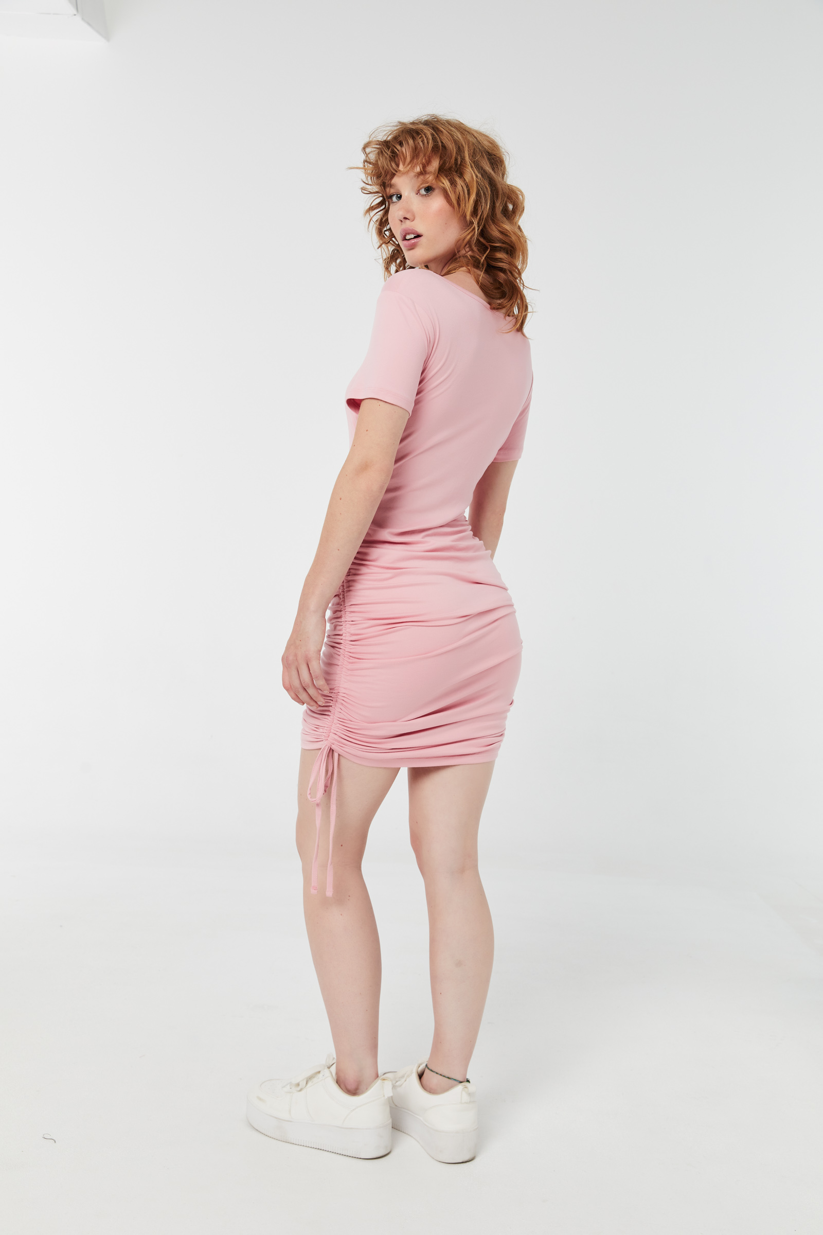 T-shirt Dress with Ruched Sides
